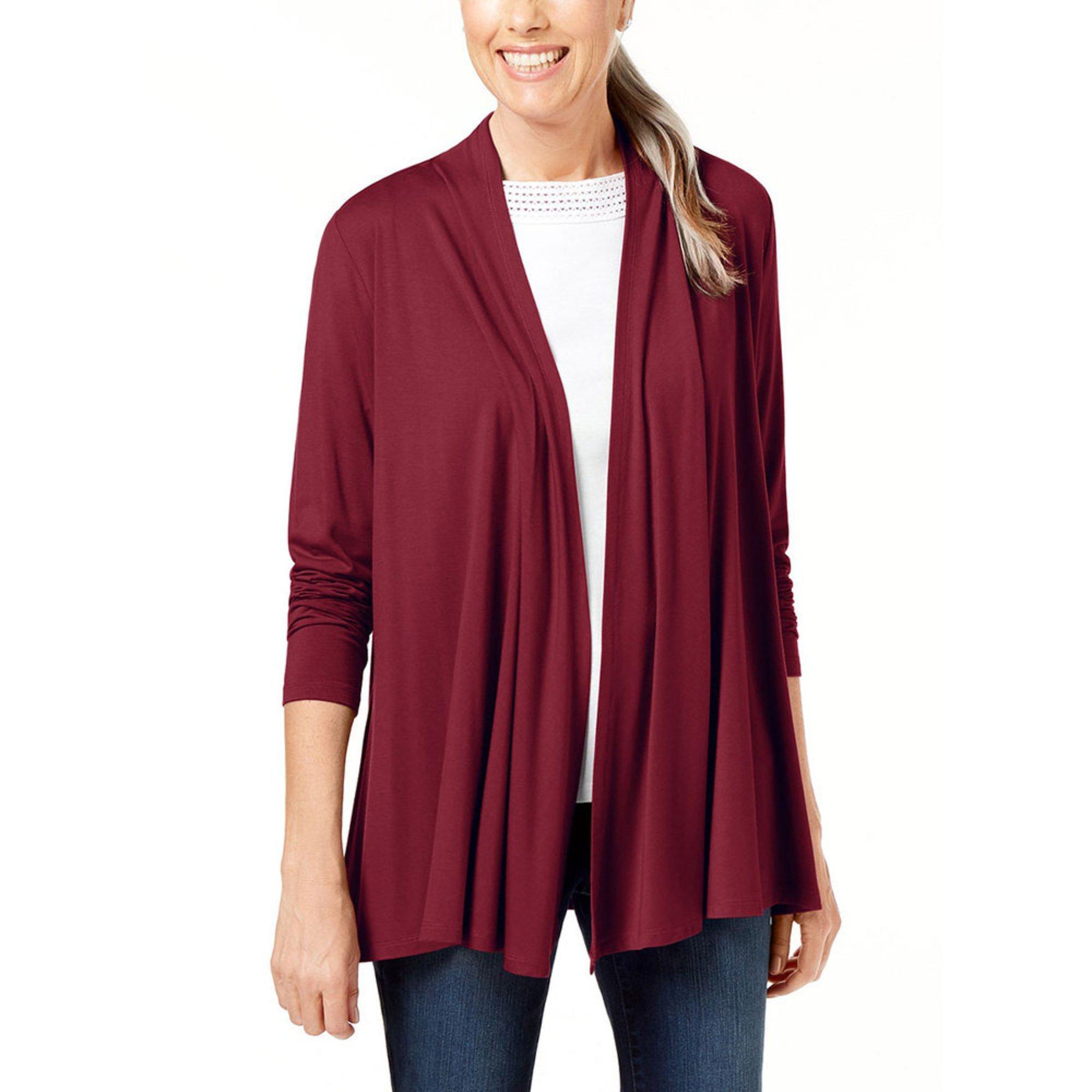 Karen Scott Womens 34 Sleeve Cascade Cardigan Sweaters Apparel