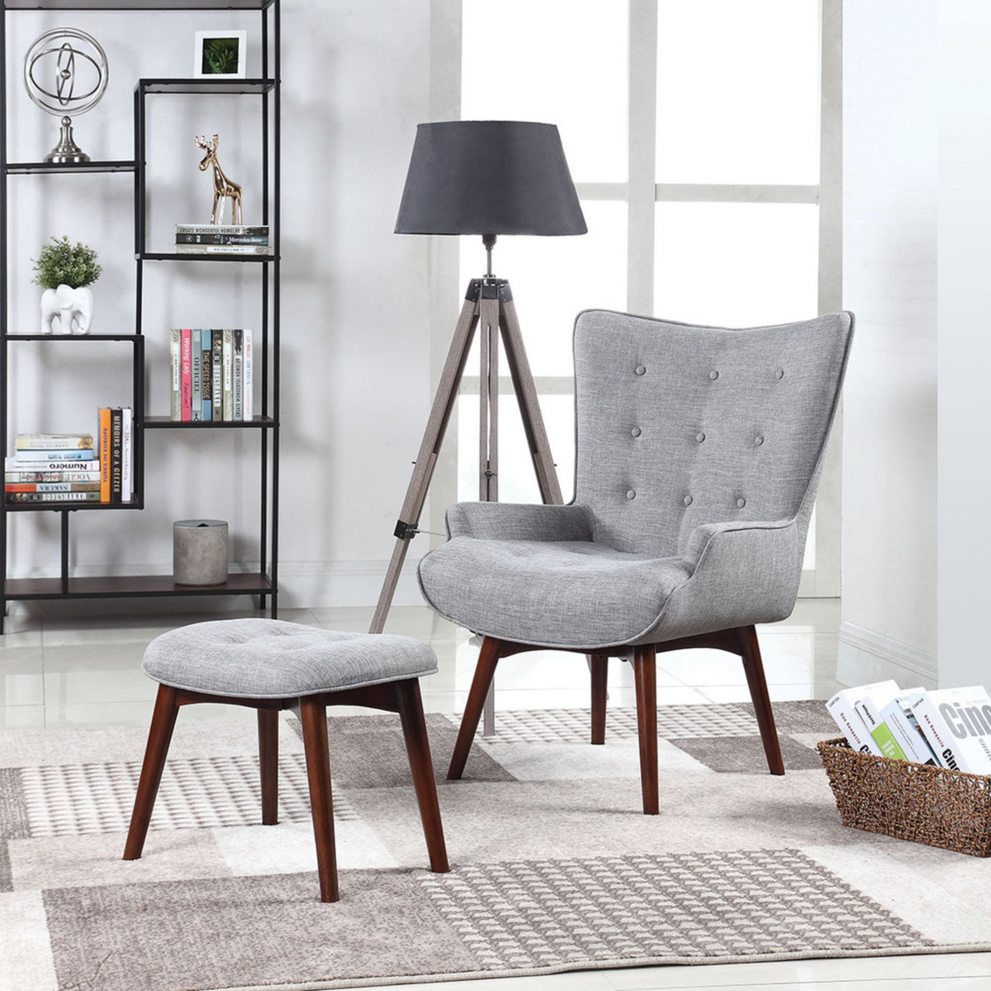 Scott Living Accent Chair With Ottoman (11)  Accent Chairs