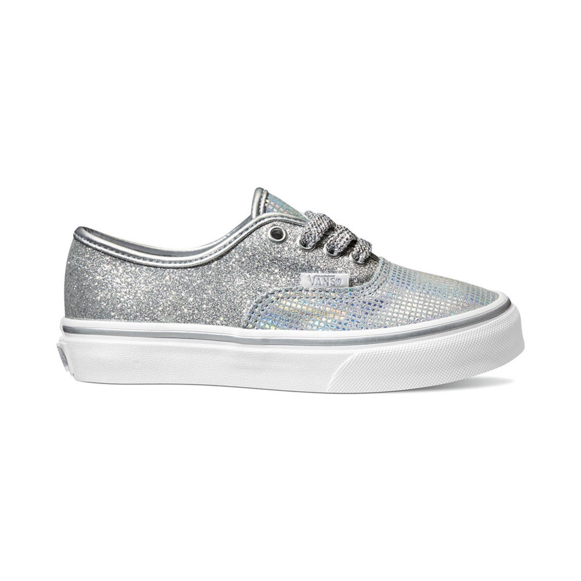 214e2f6af2 Vans Girls Authentic Metallic Glitter Skate Shoe (youth)