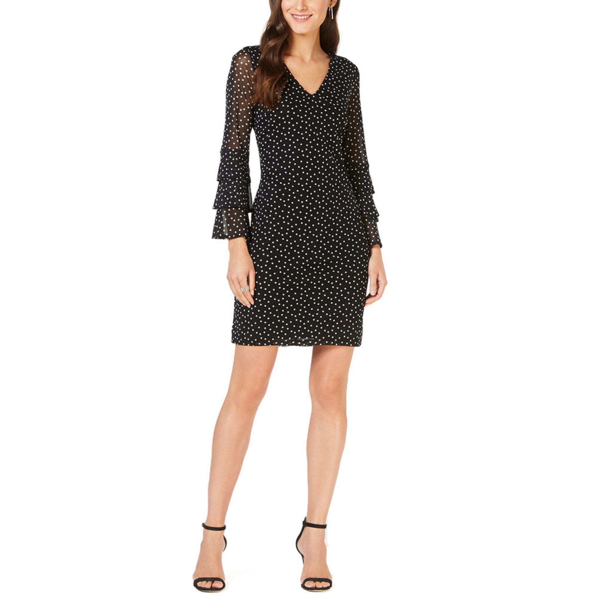 Inc International Concepts Womens Tiered Sleeve Dotted Dress