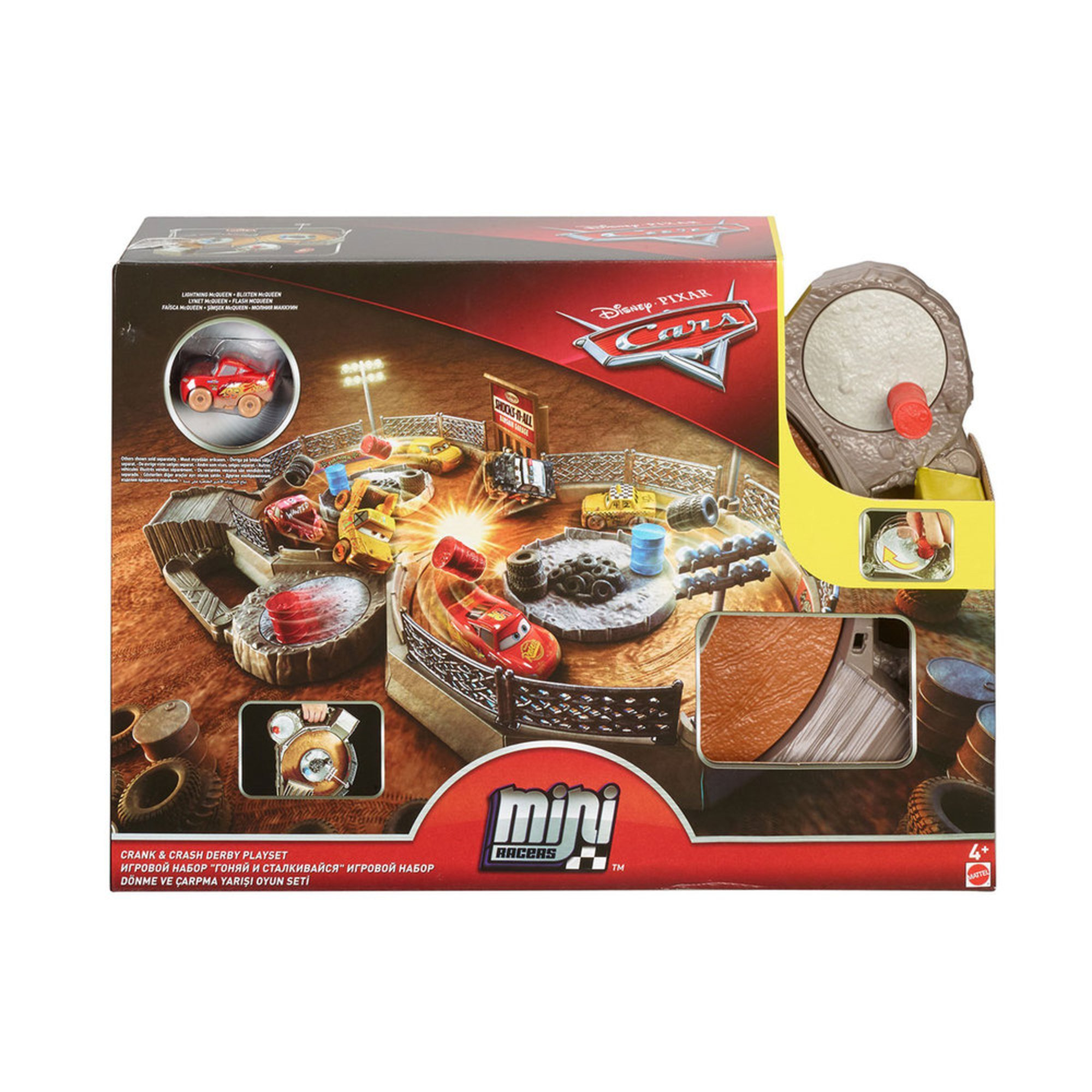 Disney Cars Mini Racers Crank Crash Derby Playset Racetracks