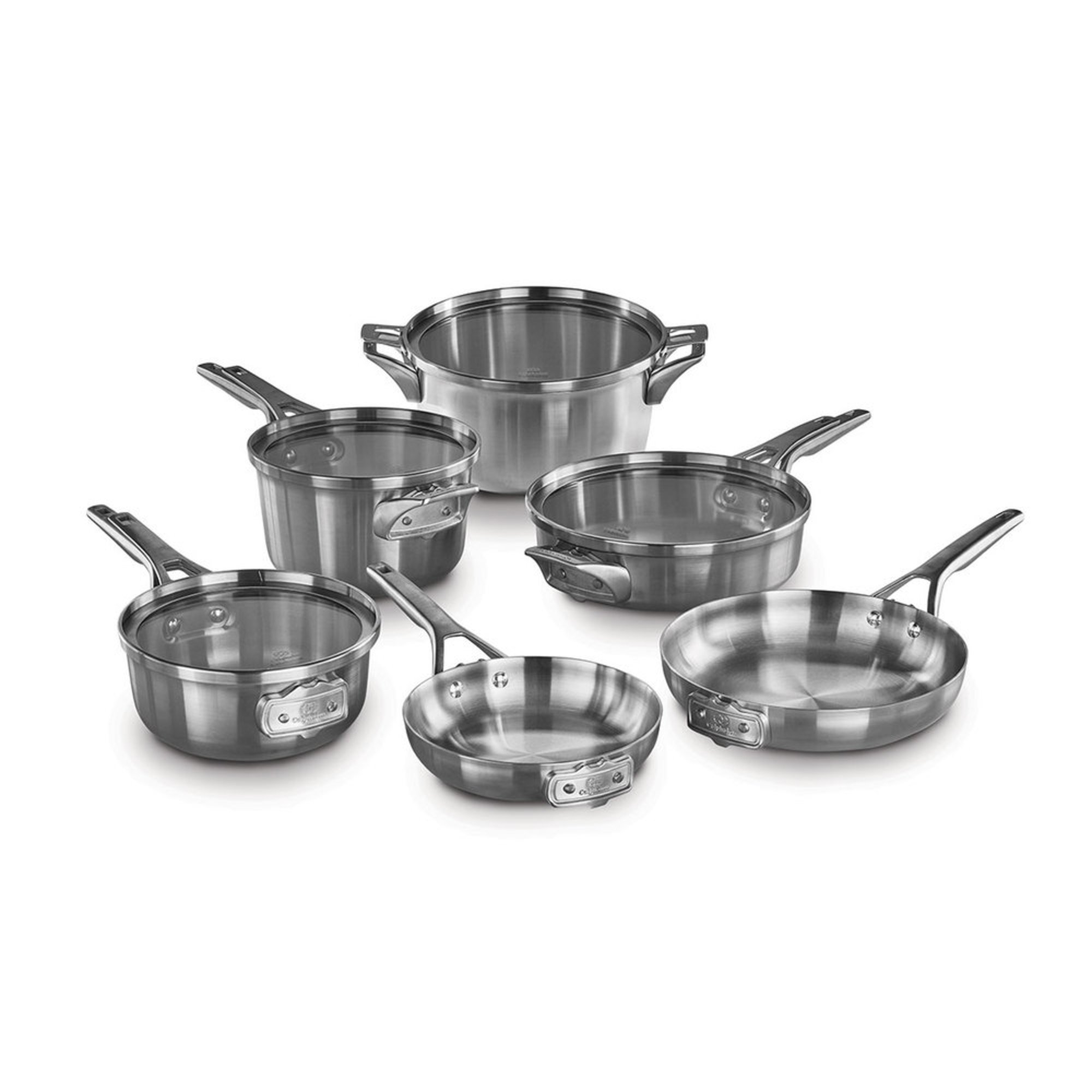 calphalon premier 10 piece space saving stainless steel cookware set cookware sets for the. Black Bedroom Furniture Sets. Home Design Ideas