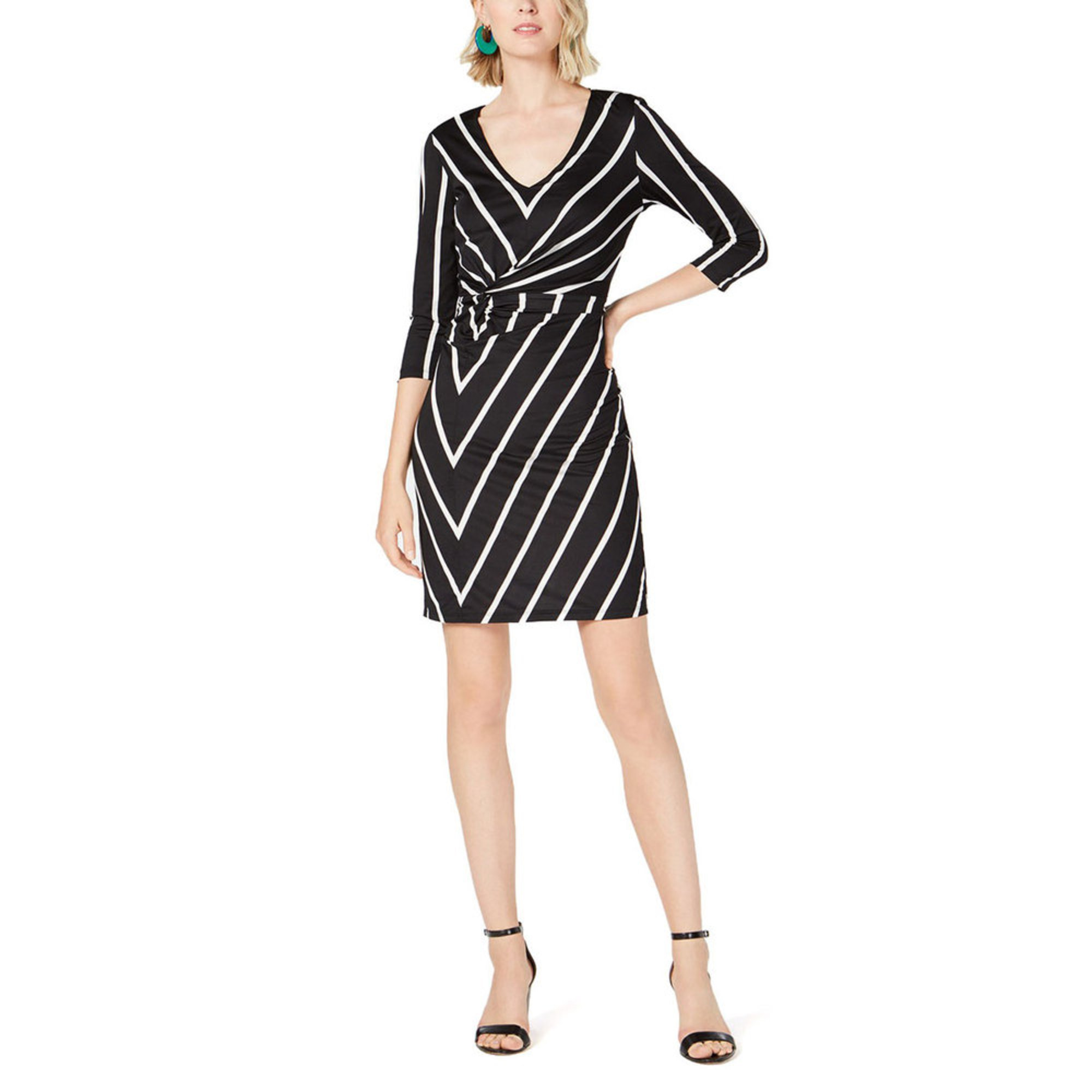 Inc International Concepts Womens Striped Twist Front Dress