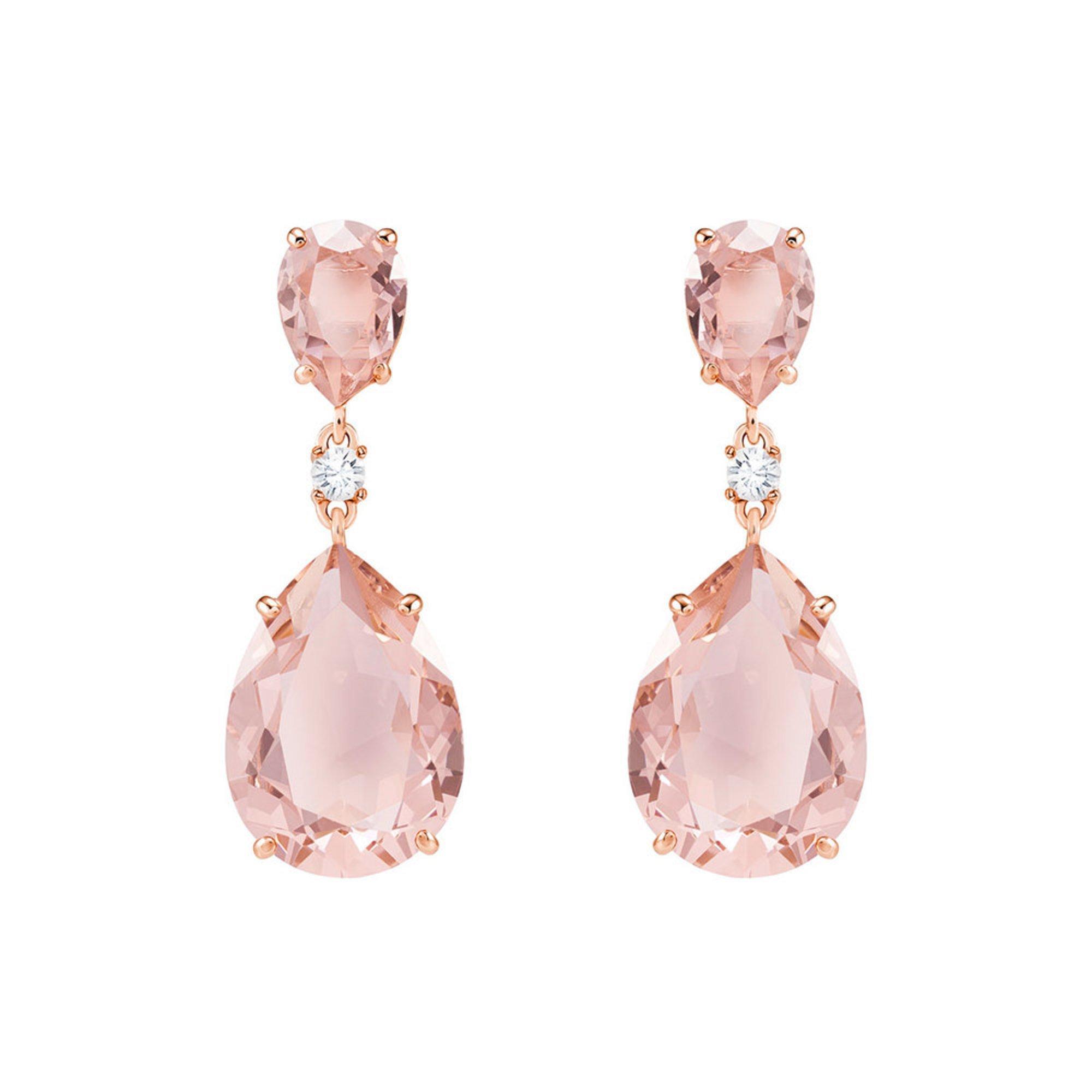 Swarovski Vintage Drop Pierced Earrings, Pink, Rhodium