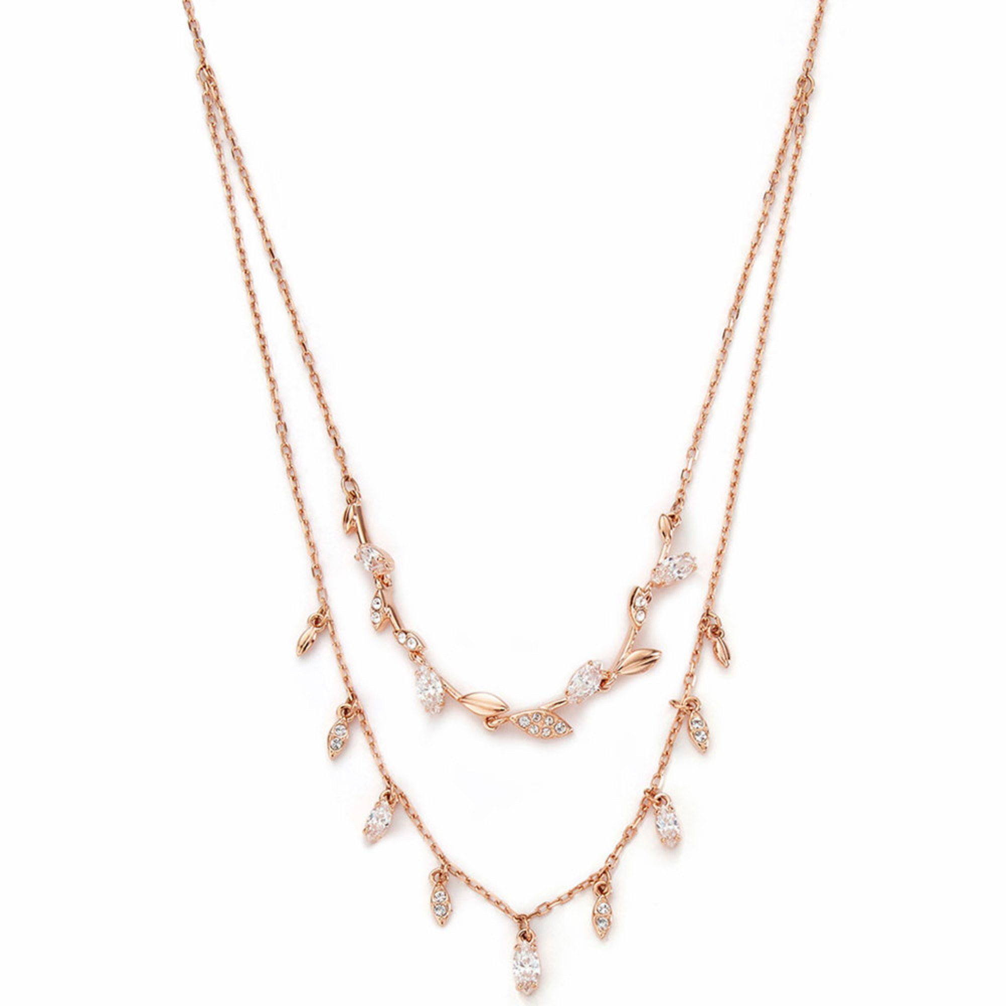 99e344e26ea3d Swarovski Mayfly Layered Cubic Zirconia Crystal Necklace, Rose Gold ...