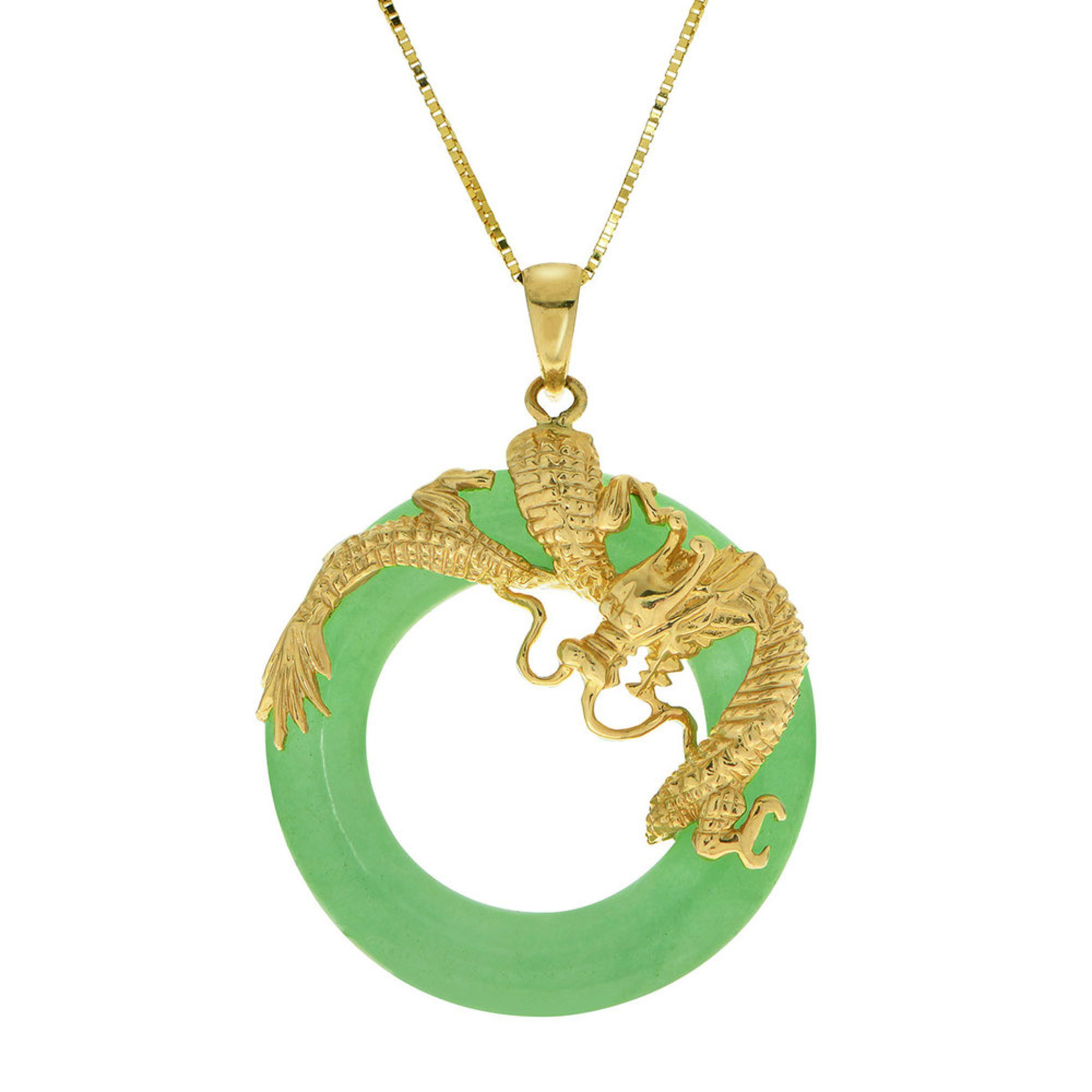 Gold Plated Jade Dragon Pendant Sterling Silver