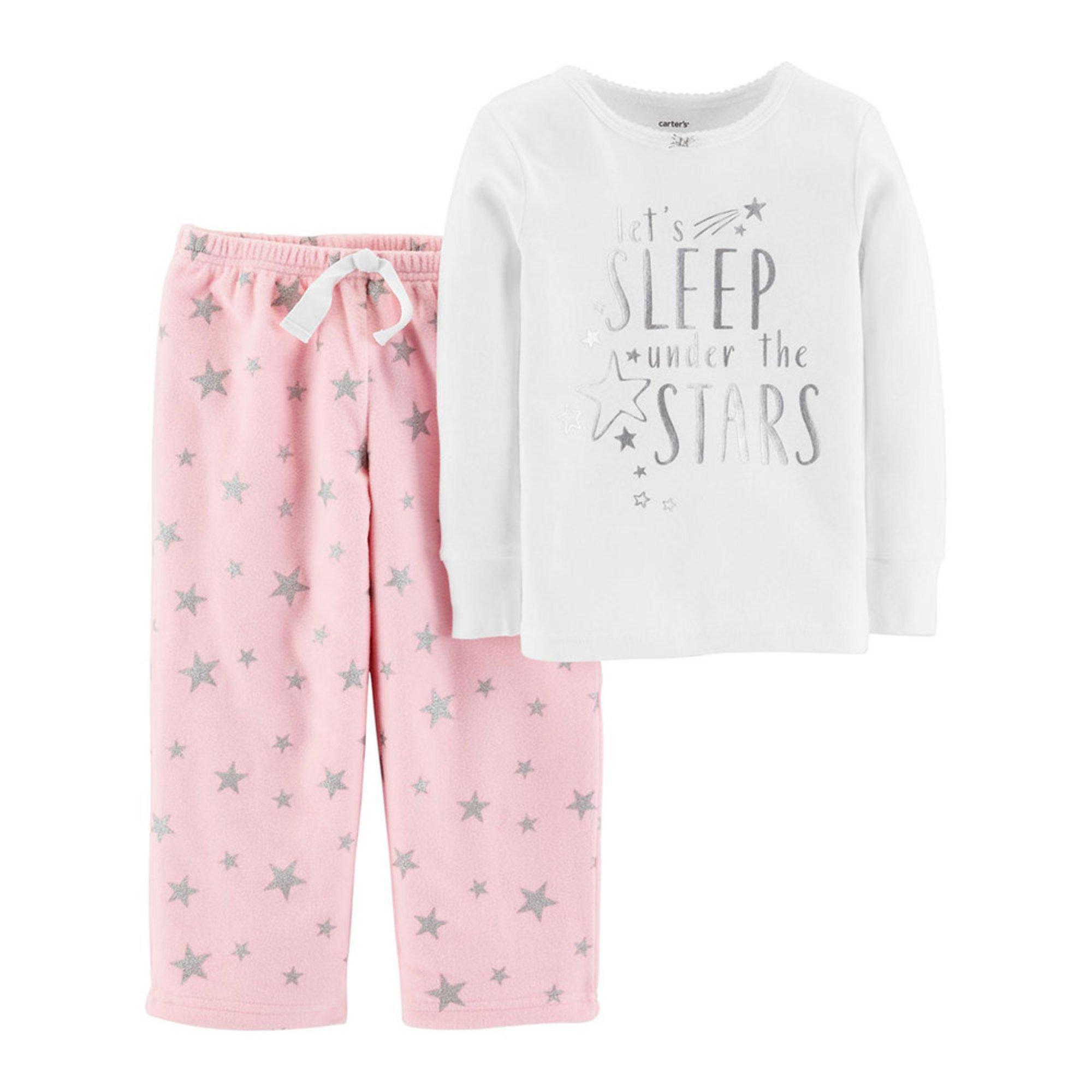 821b5f79a Carter s Little Girls  2-piece Fleece Silver Stars Pajamas