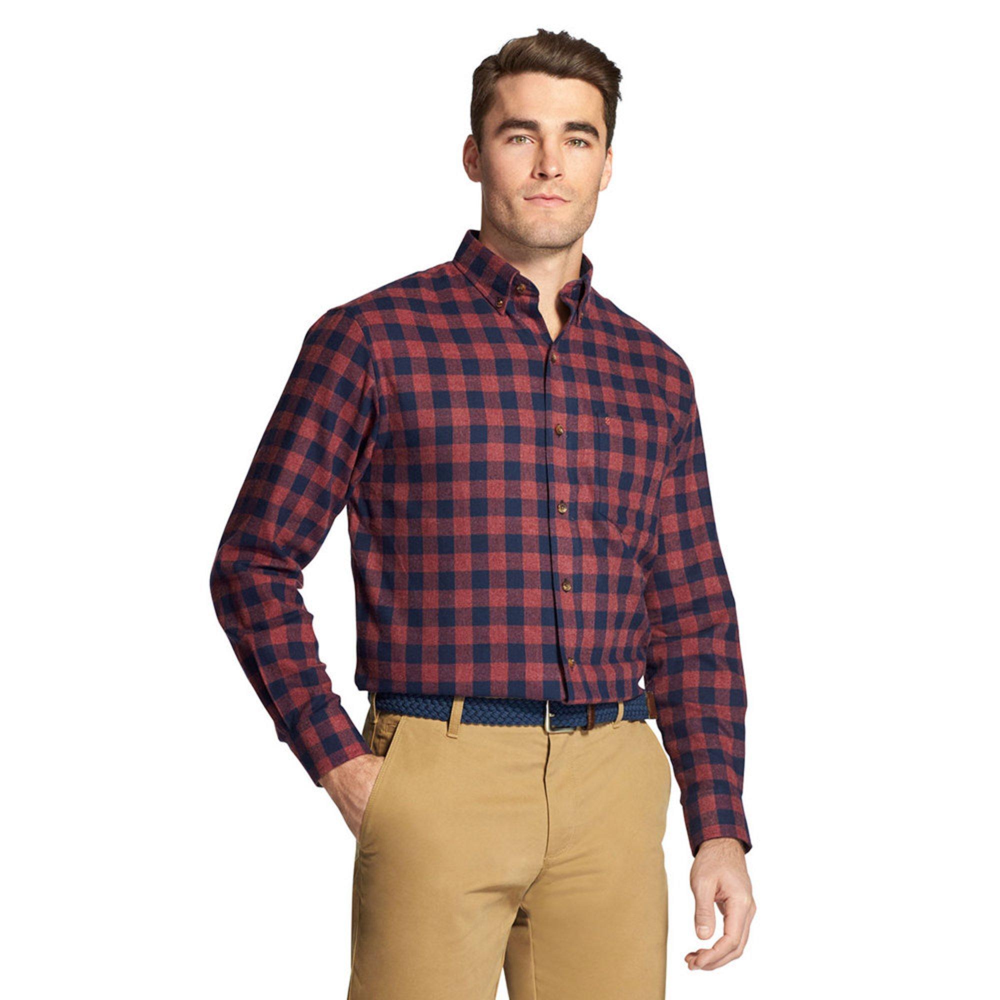 Izod Mens Long Sleeve Buffalo Checked Flannel Sport Shirt Casual