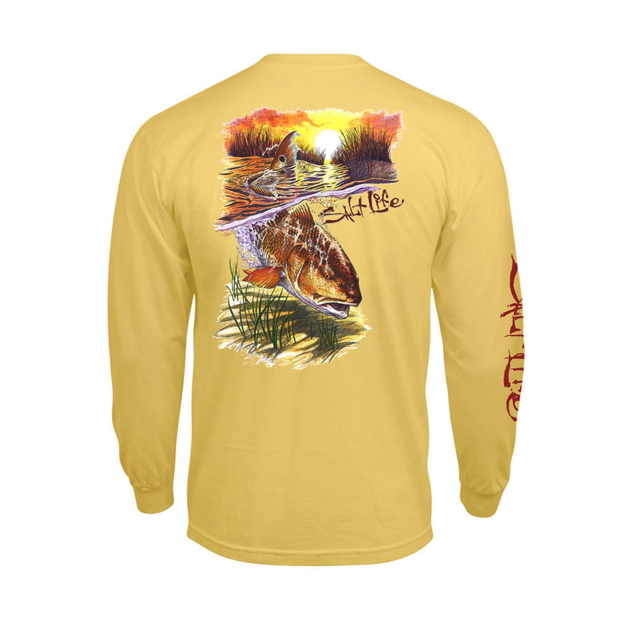 573727d6263c5 Salt Life Mens Long Sleeve Tee Bulldozing Red Yellow | Casual ...