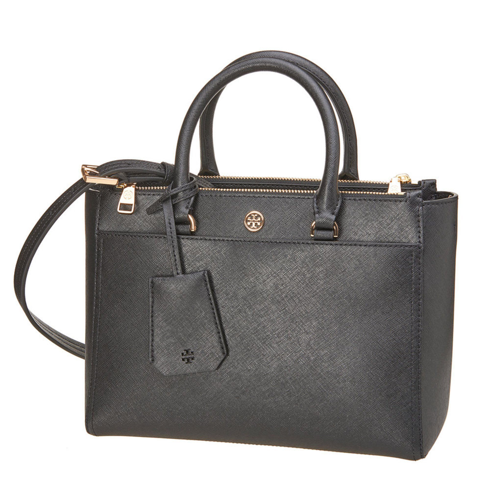 e36f9a616a Tory Burch Robinson Small Double Zip Tote Black/royal Navy   Totes ...