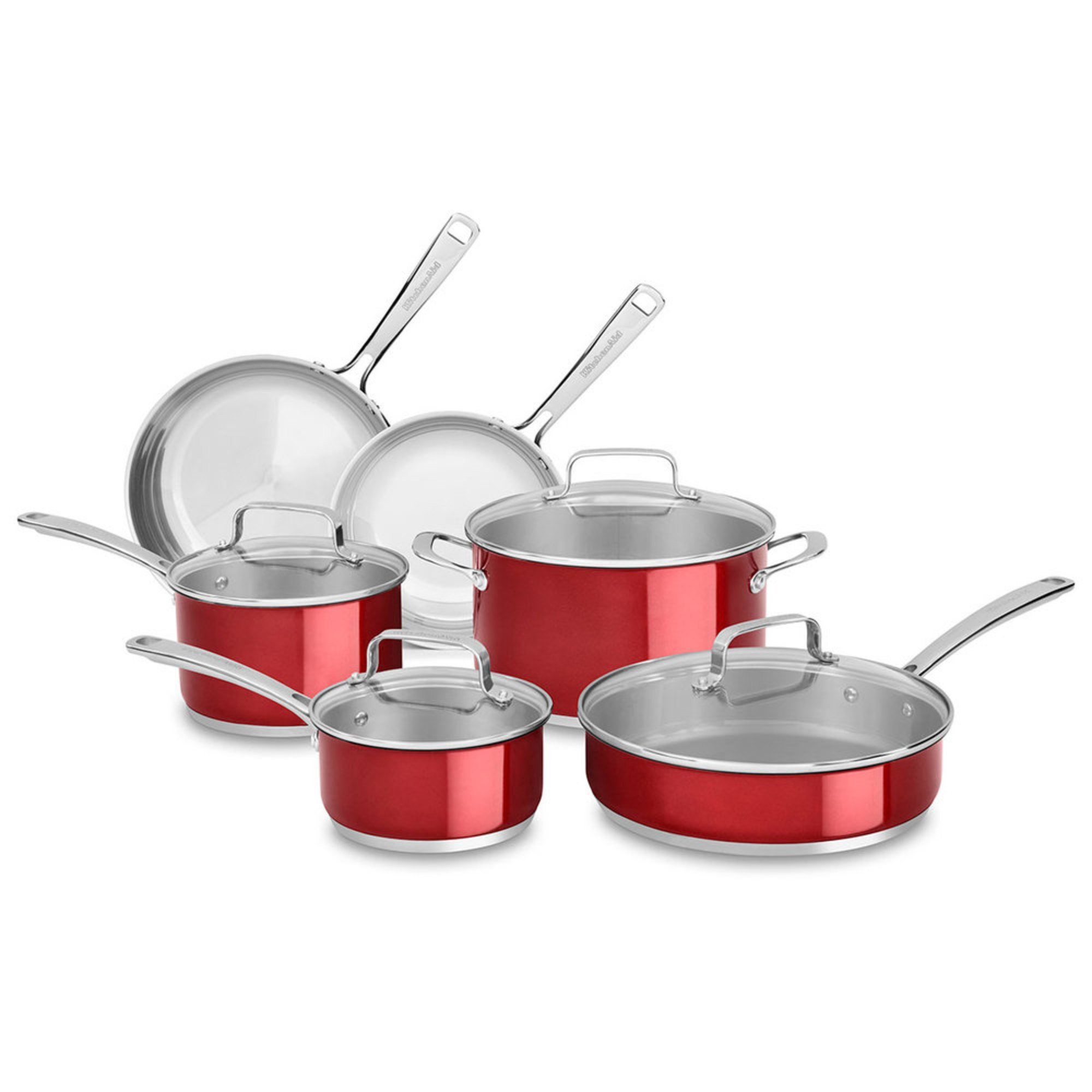 Kitchenaid Stainless 10 Piece Steel Cookware Set Candy Apple Red