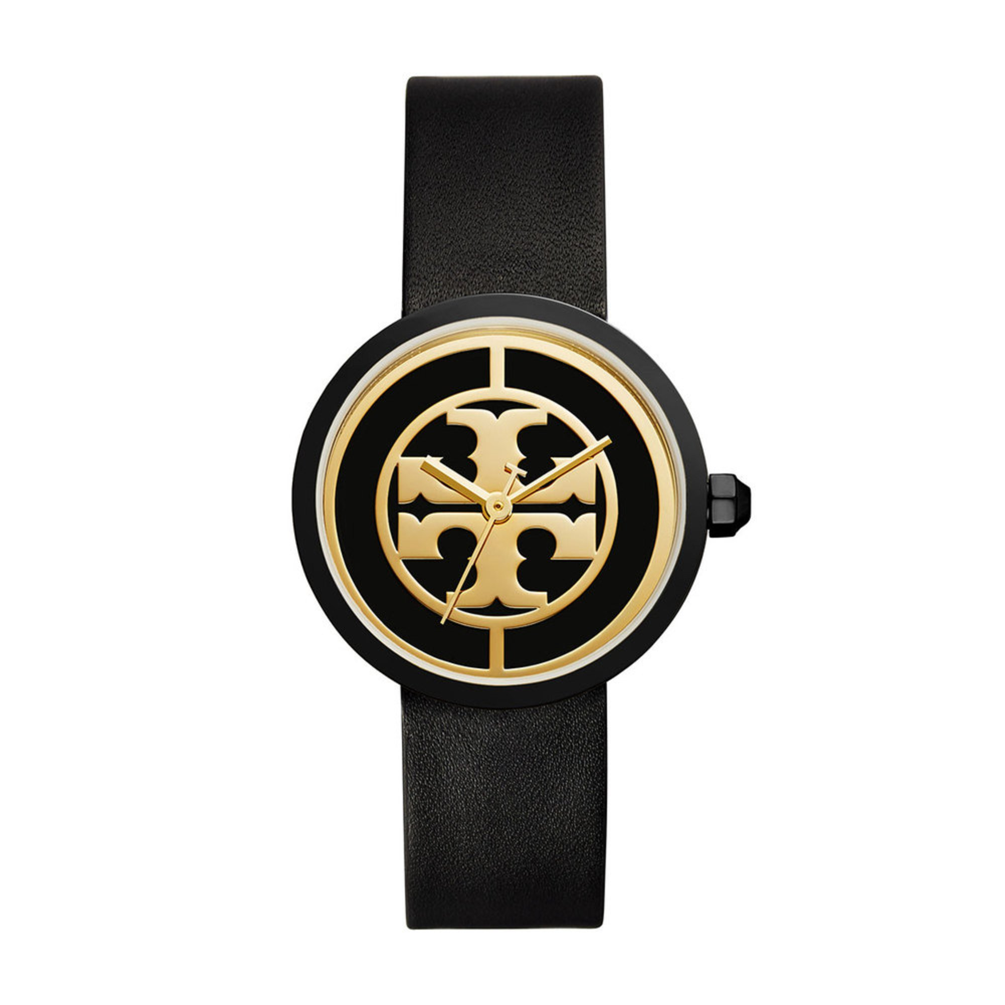 771e6ae865ca Tory Burch Women's Reva Gold Black Black Leather Strap Watch, 36mm ...