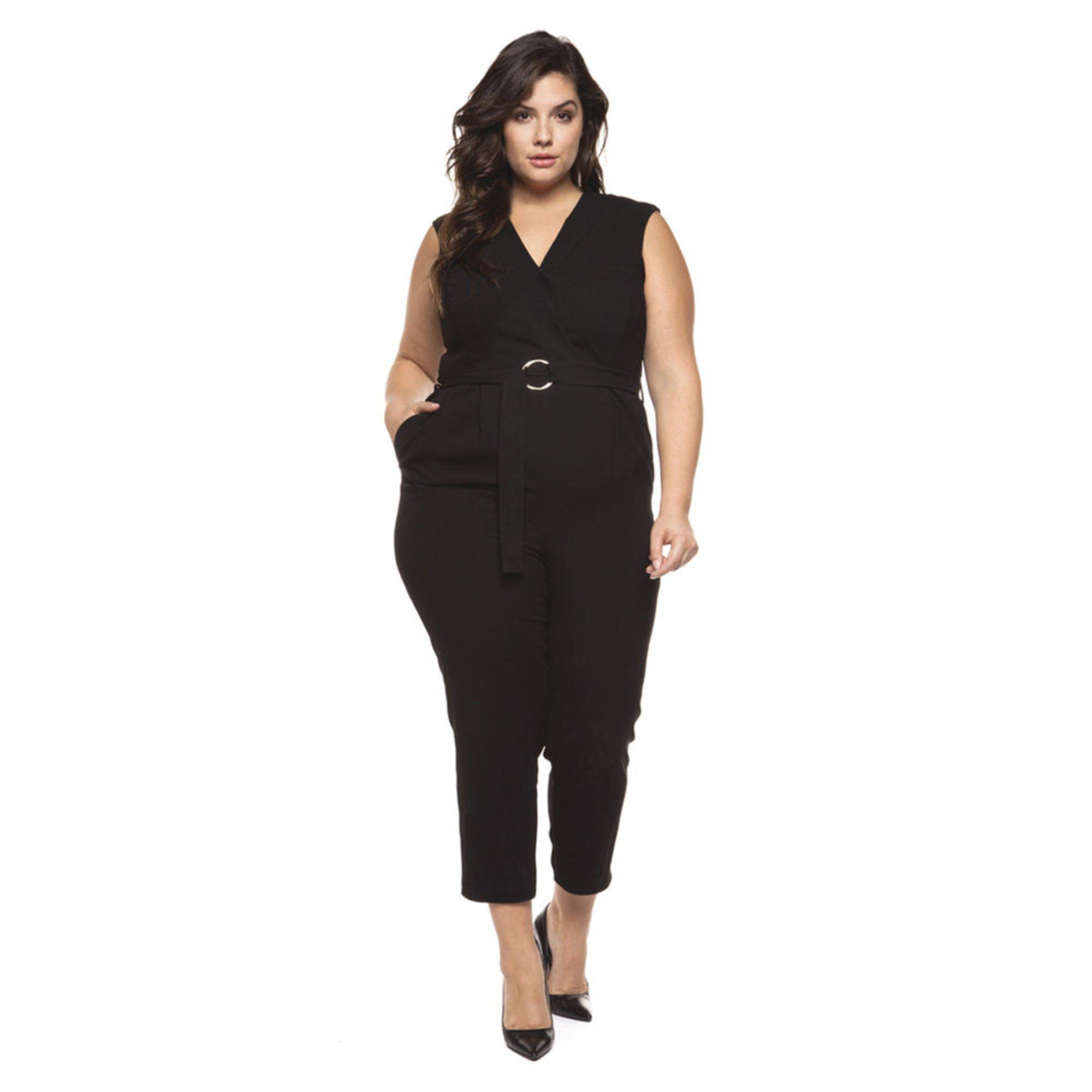 Dex Women S V Neck Belted Jumpsuit Plus Sizing Women S Dresses