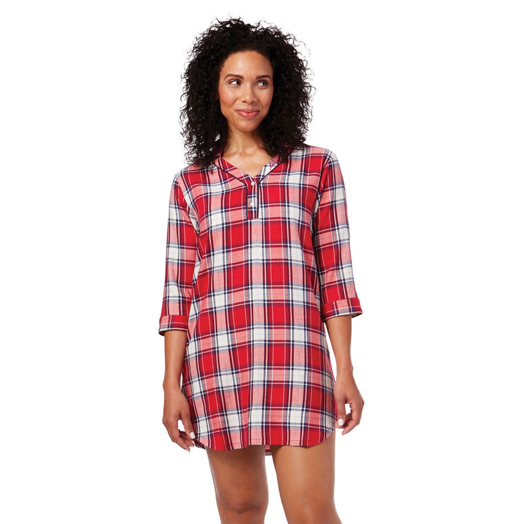 5f5eb55d2c ED Ellen Degeneres. Ellen DeGeneres Women s 3 4 Sleeve Flannel Printed  Sleepshirt
