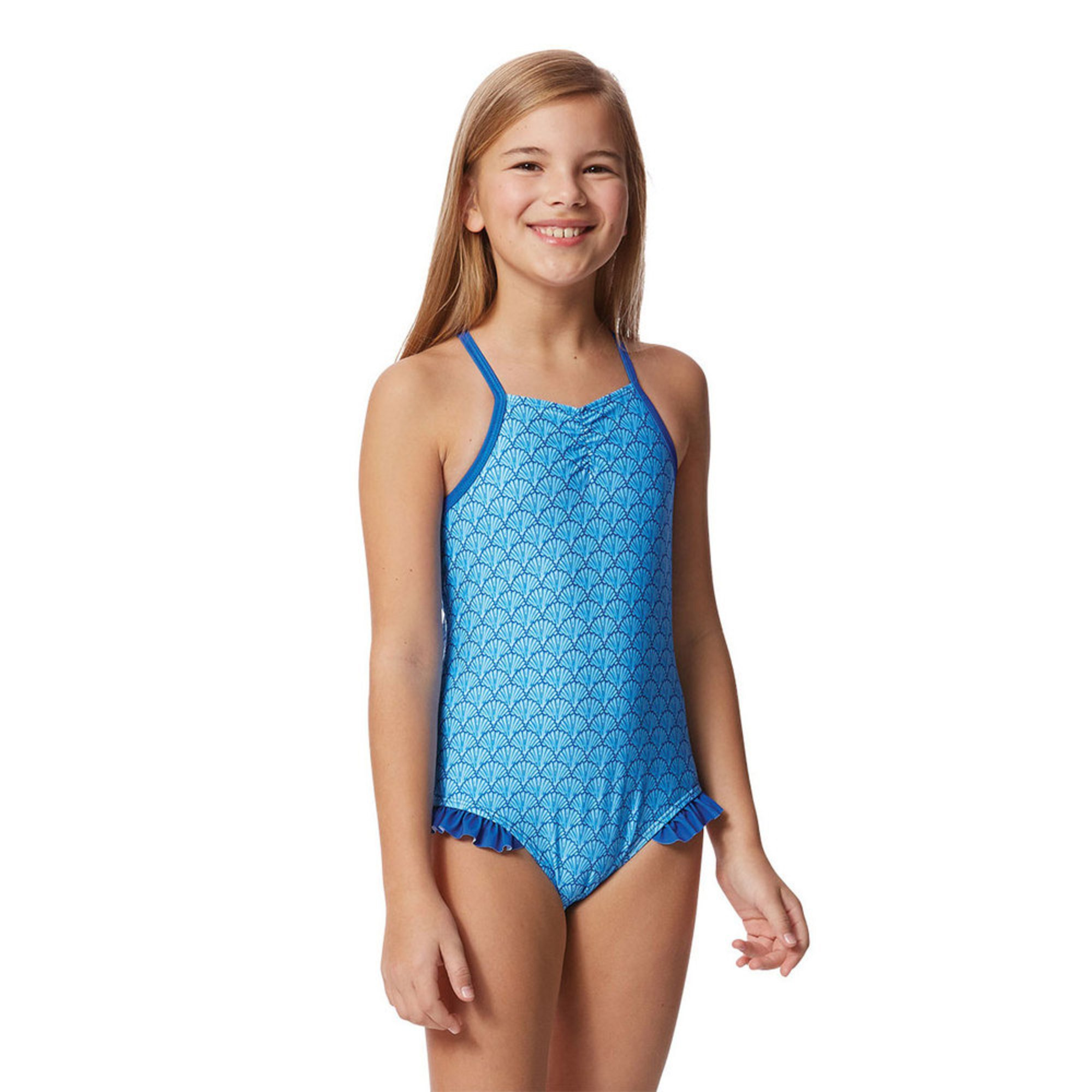 buy online top-rated real online store Yarn & Sea Big Girls' Bathing Suit, Shell Print With Ruffle ...