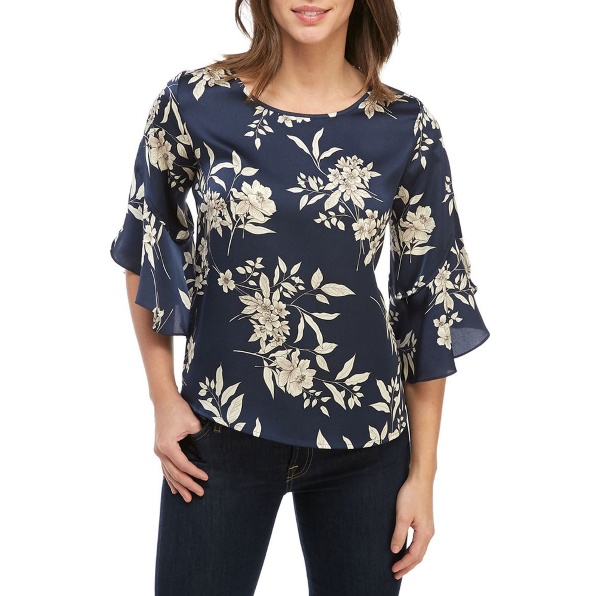 7438b0f54598 Vince Camuto. Vince Camuto Women's Bell Sleeve Etched Floral Blouse