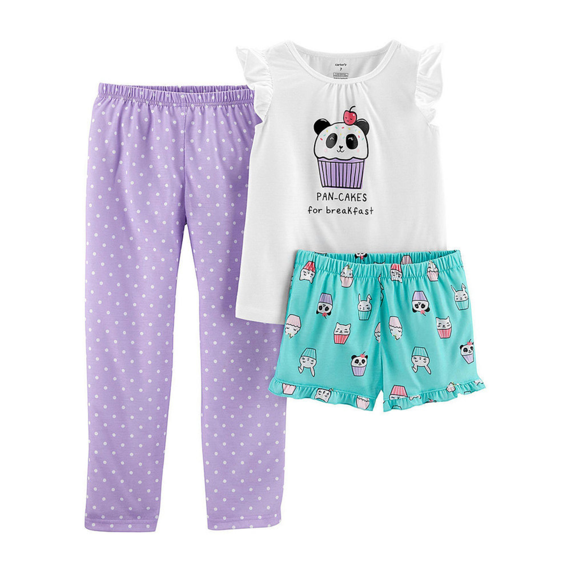 7fe796066c20 Carter s Toddler Girls  3-piece Pancake Tee Pajama Set