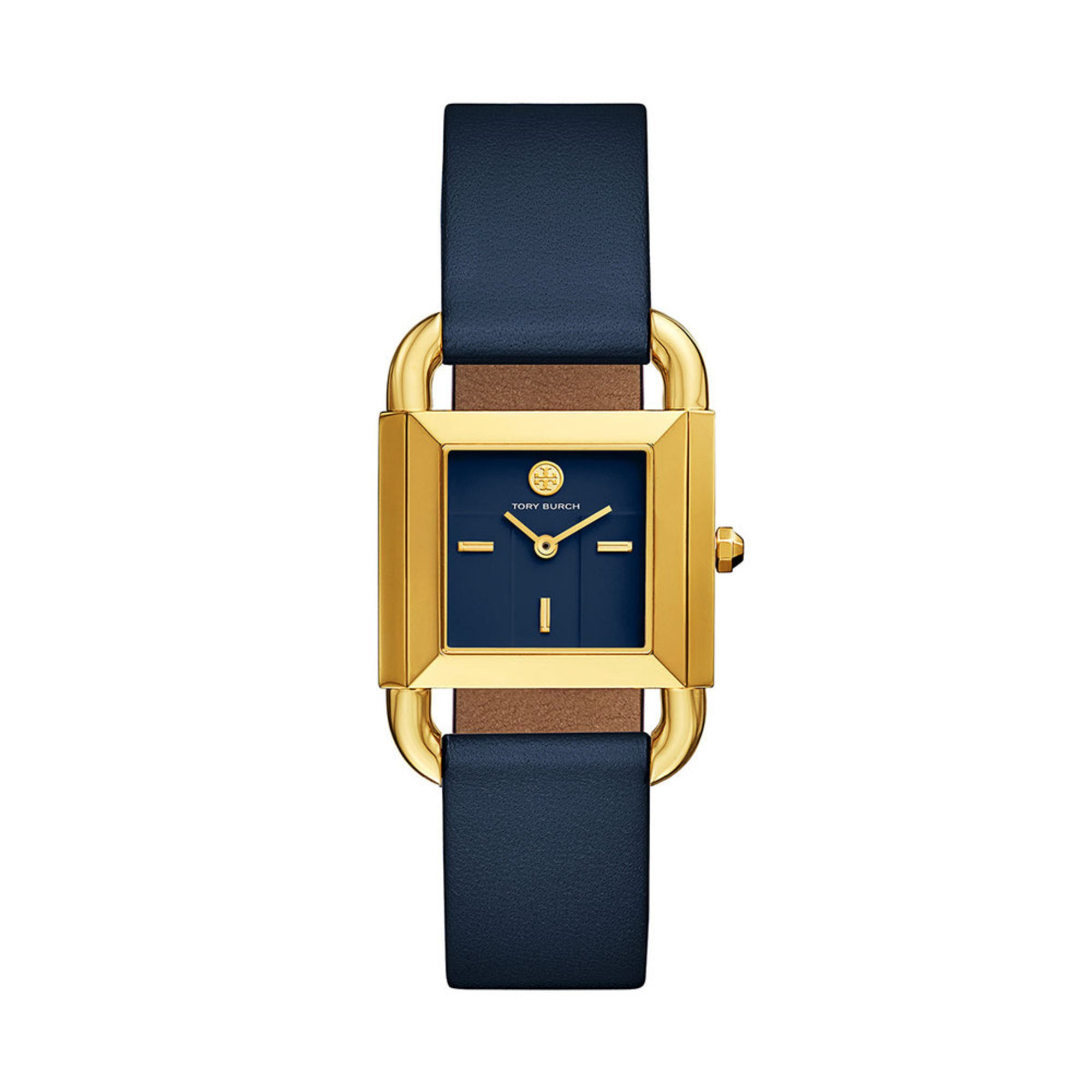 62b145325cbb Tory Burch Women s Phipps Two Hand Navy Blue Leather Strap Watch ...