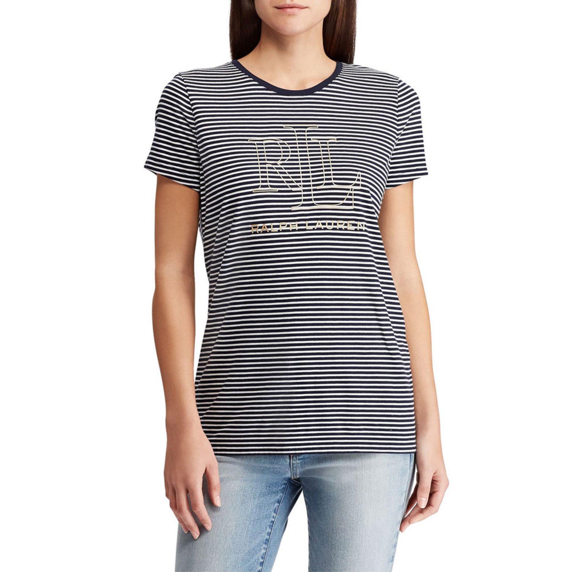 4ea34dd0 Lauren Ralph Lauren. Ralph Lauren Women's Short Sleeve Striped Logo Katlin  Tee