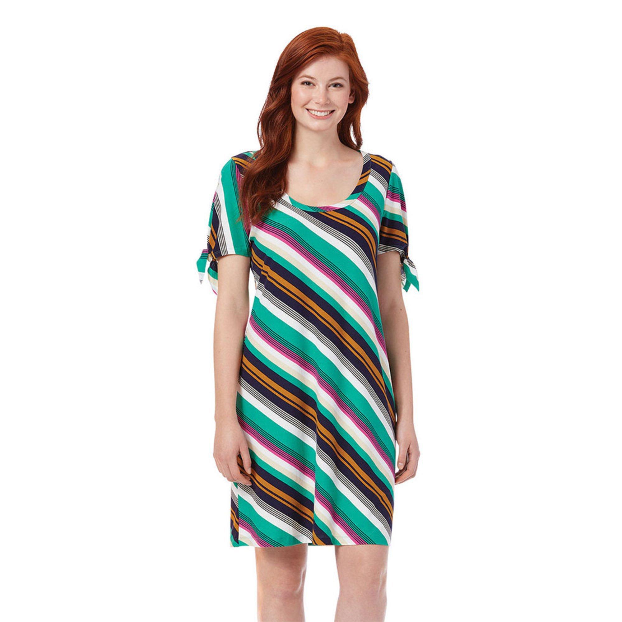 54e46c50e3 Allison Brittney. Allison Brittney Women s Tie Sleeve Diagonal Striped  Yummy Knit Swing Dress
