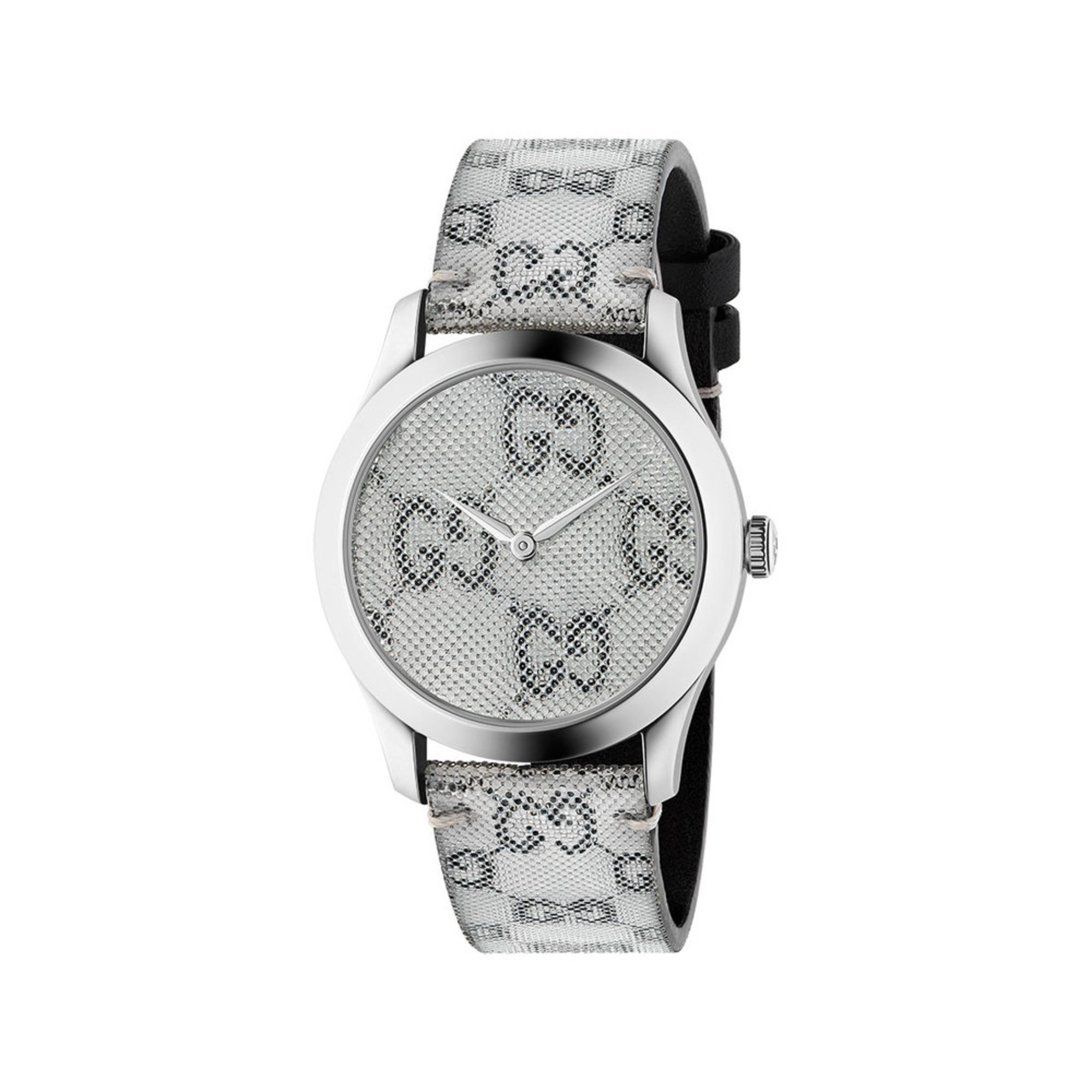 412bf6e94da Gucci Women s Timeless Stainless Steel Case Grey Silver Pattern ...