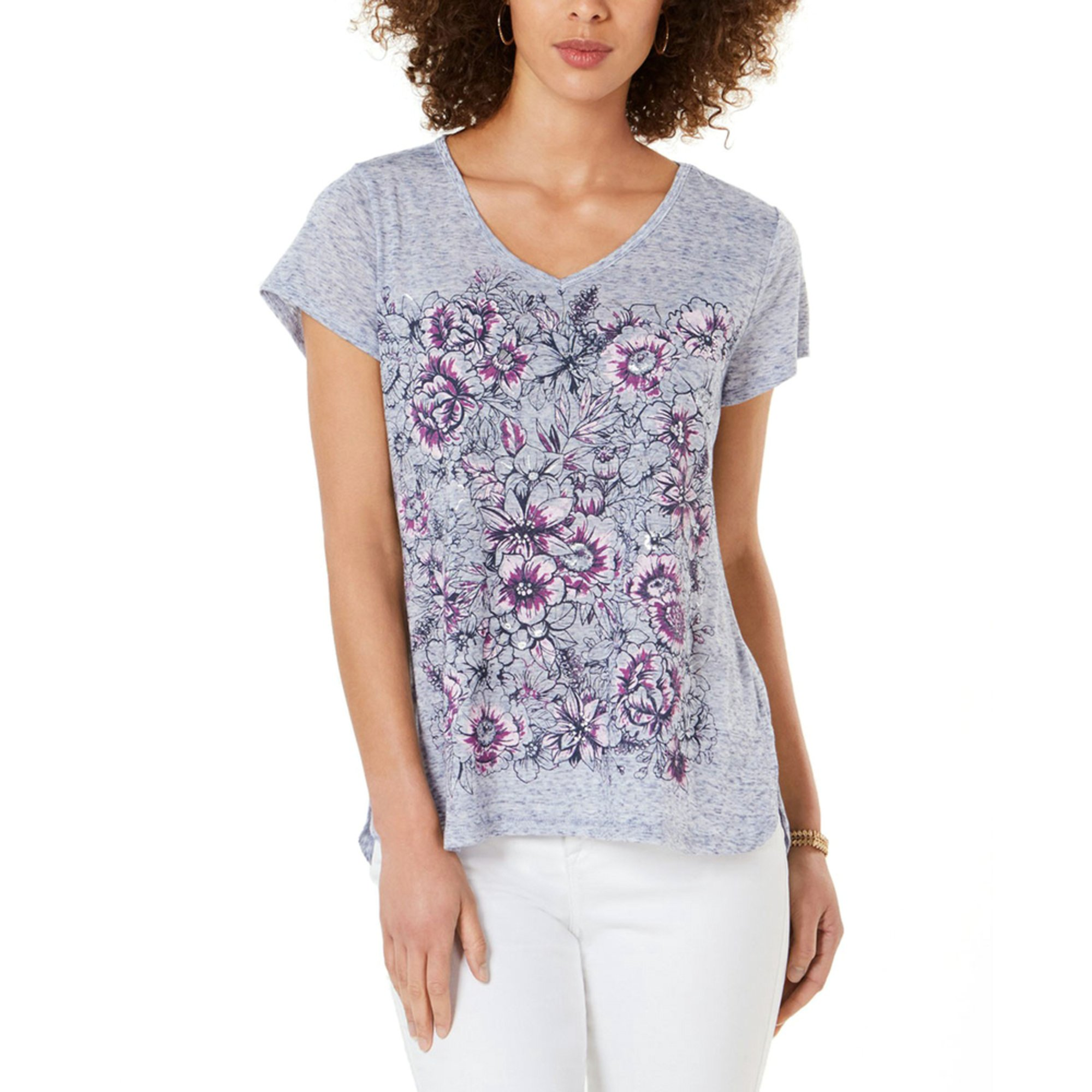 73c9c4fb Style & Co Women's Rose Garden Graphic V-neck Tee | Casual & Dress ...
