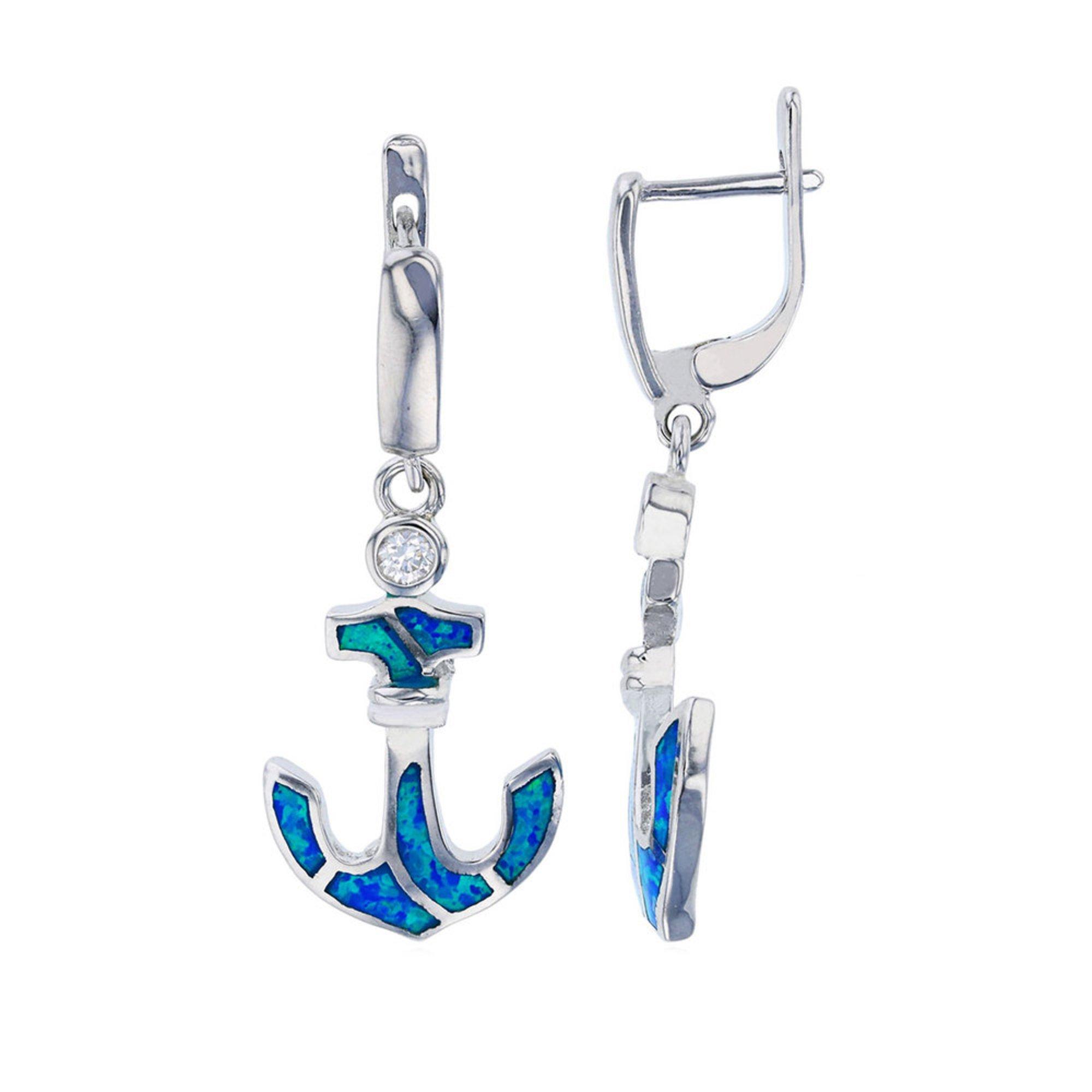 da97a86bf545b Bijoux Du Soleil Created Opal Anchor Earrings, Sterling Silver ...