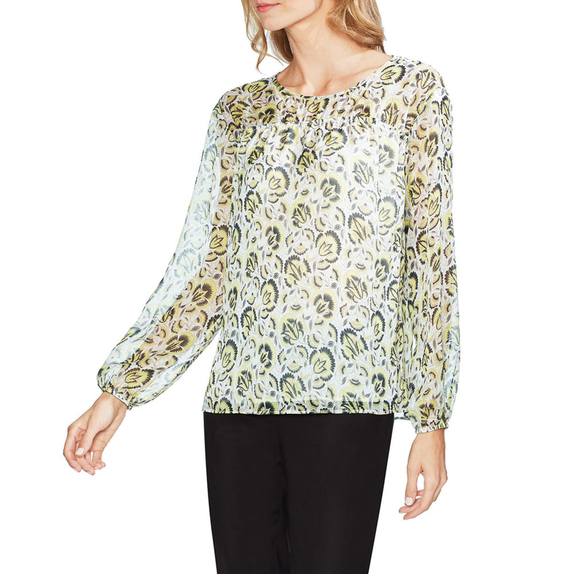 5ed321e2721 Vince Camuto Women s Long Sleeve Cluster Blooms Ruched Yoke Blouse ...
