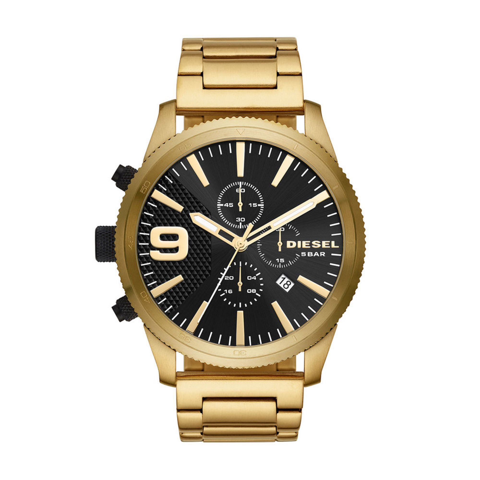 2a27fcb00 Diesel. Diesel Men's Rasp Chronograph Stainless Steel Gold Bracelet Watch  ...