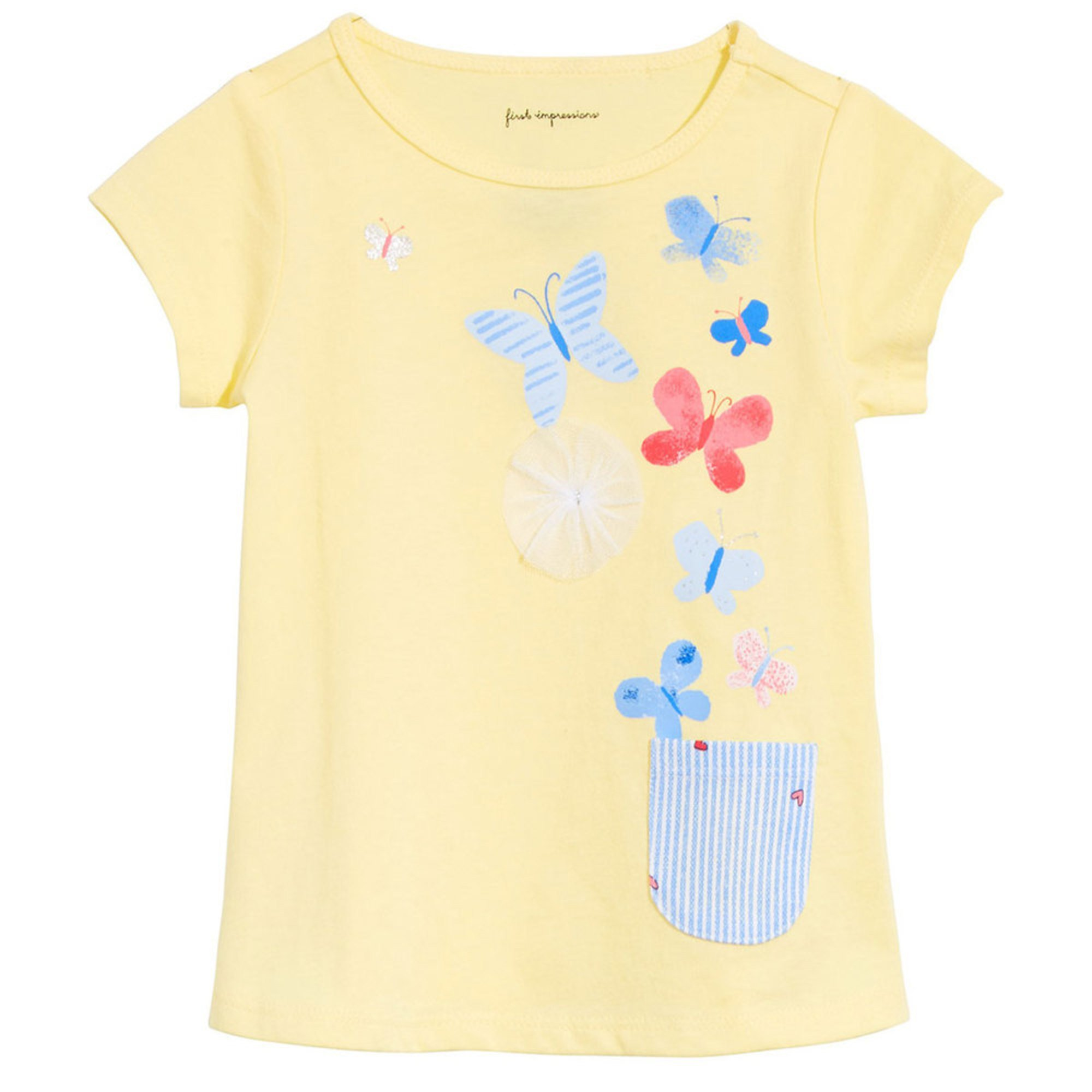 2420deea2 First Impressions Baby Girls' Butterflies Pocket Tee | Baby Girls ...