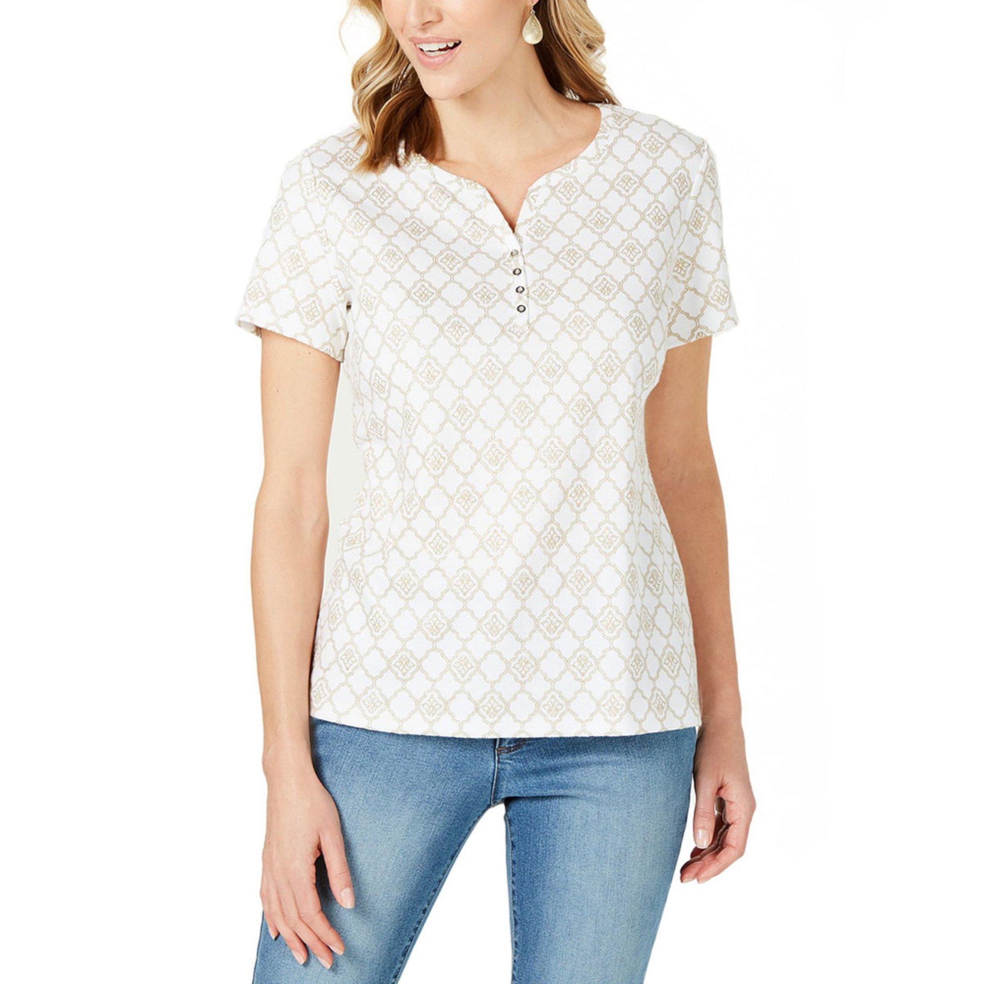 162720e6 Karen Scott Women's Trellis Chat Henley | Casual & Dress Tees & Tops ...
