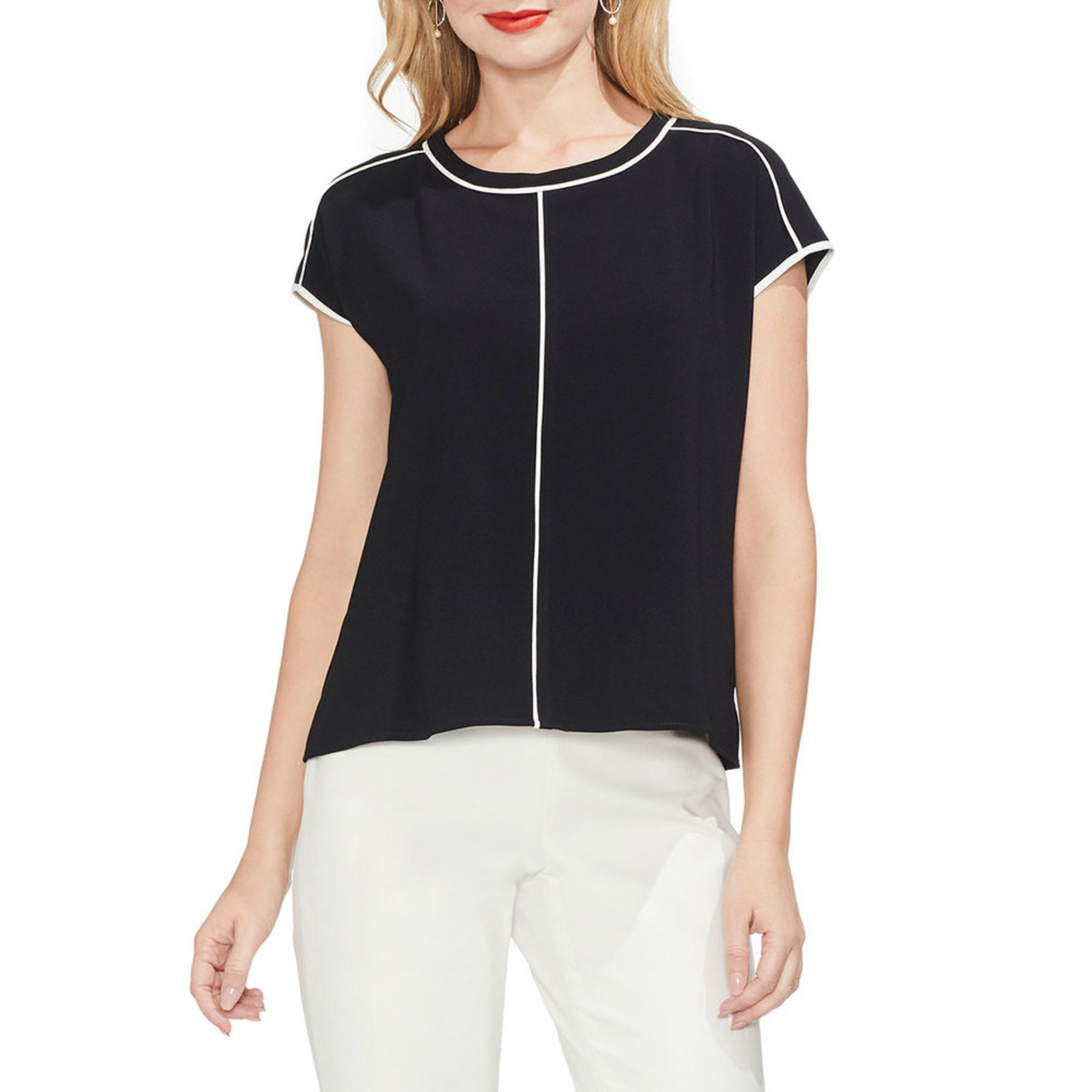 1e2744129ca Vince Camuto Women s Extend Shoulder Blouse With Contrast Piping ...
