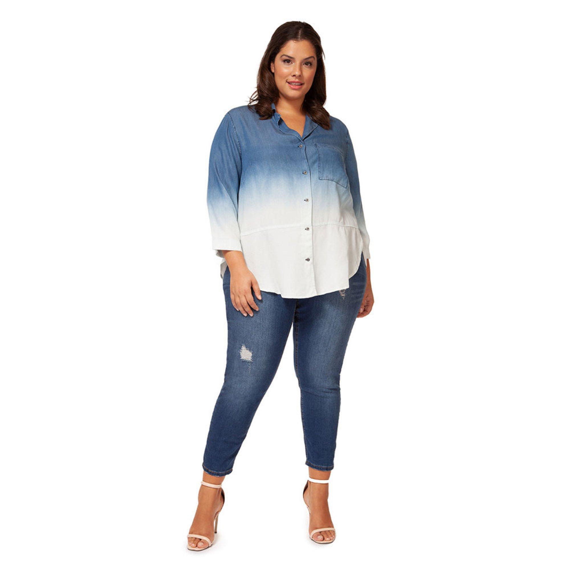 Dex Women S Dip Dye Tencel Button Up Shirt In Plus Sizing