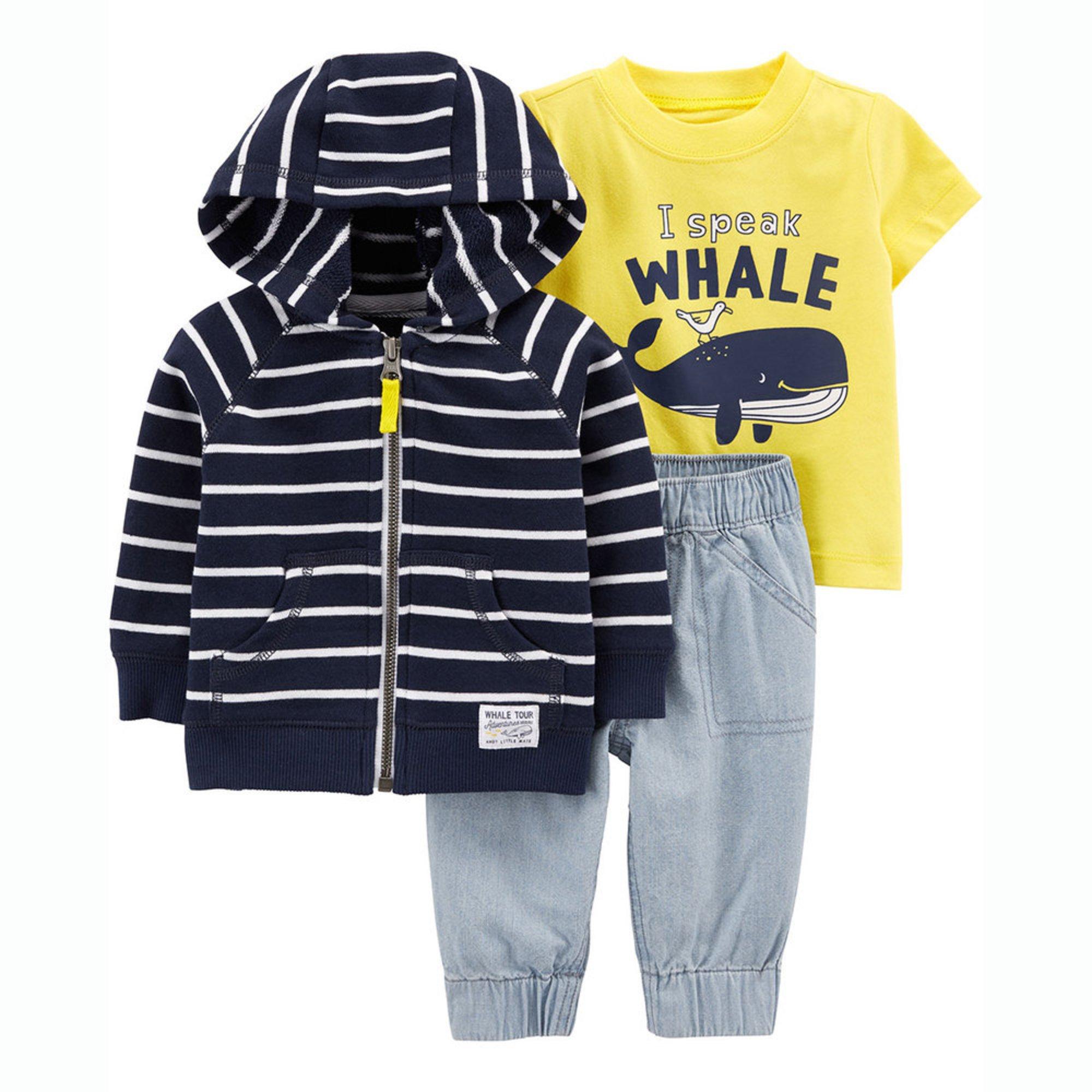 56d849ac7 Carter's Baby Boys' 3-piece Whale Cardigan Set | Baby Boys' Sets ...