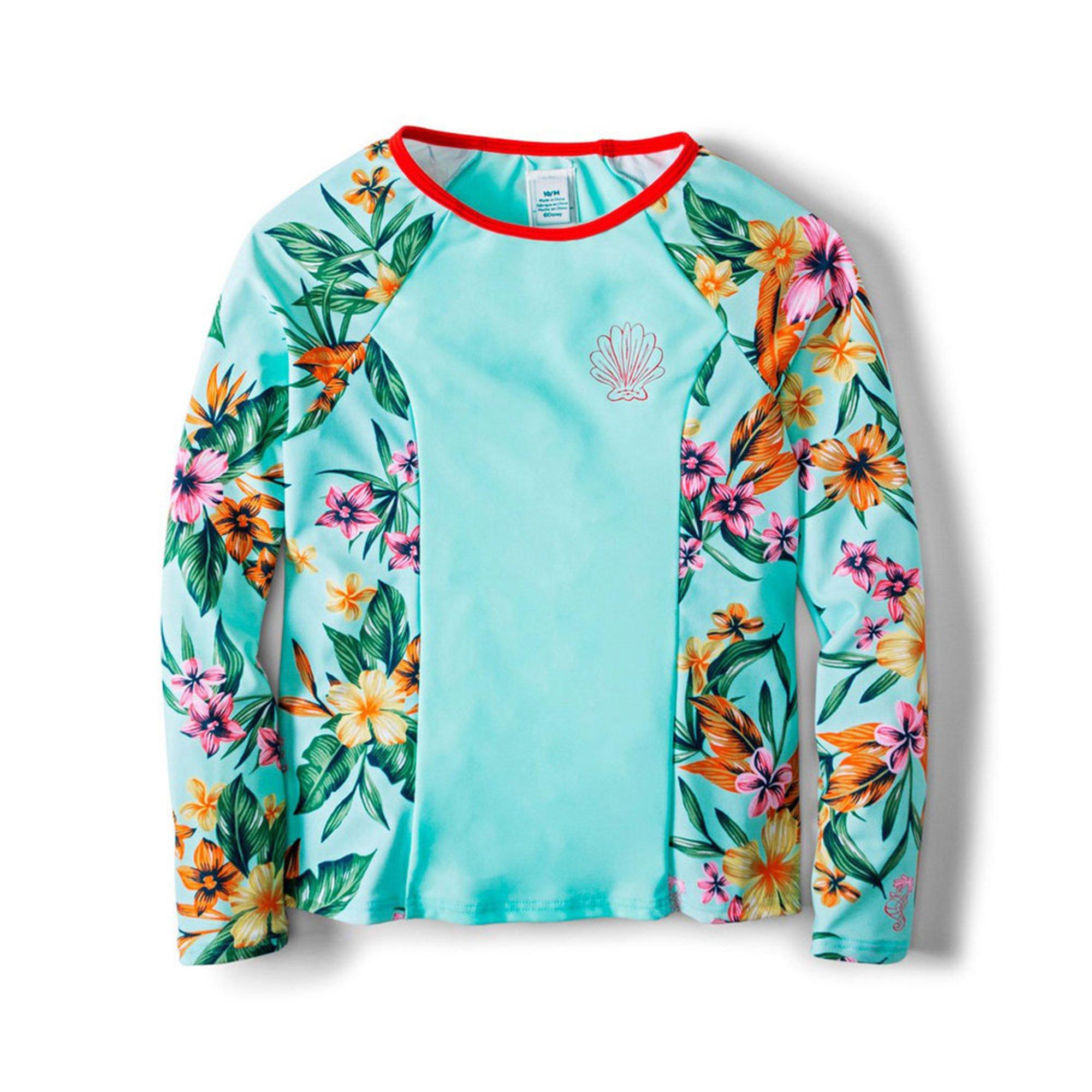 4f93e5ca3f236 Roxy Big Girls' Disney Heritage Floral Long Sleeve Upf 50 Rashguard ...