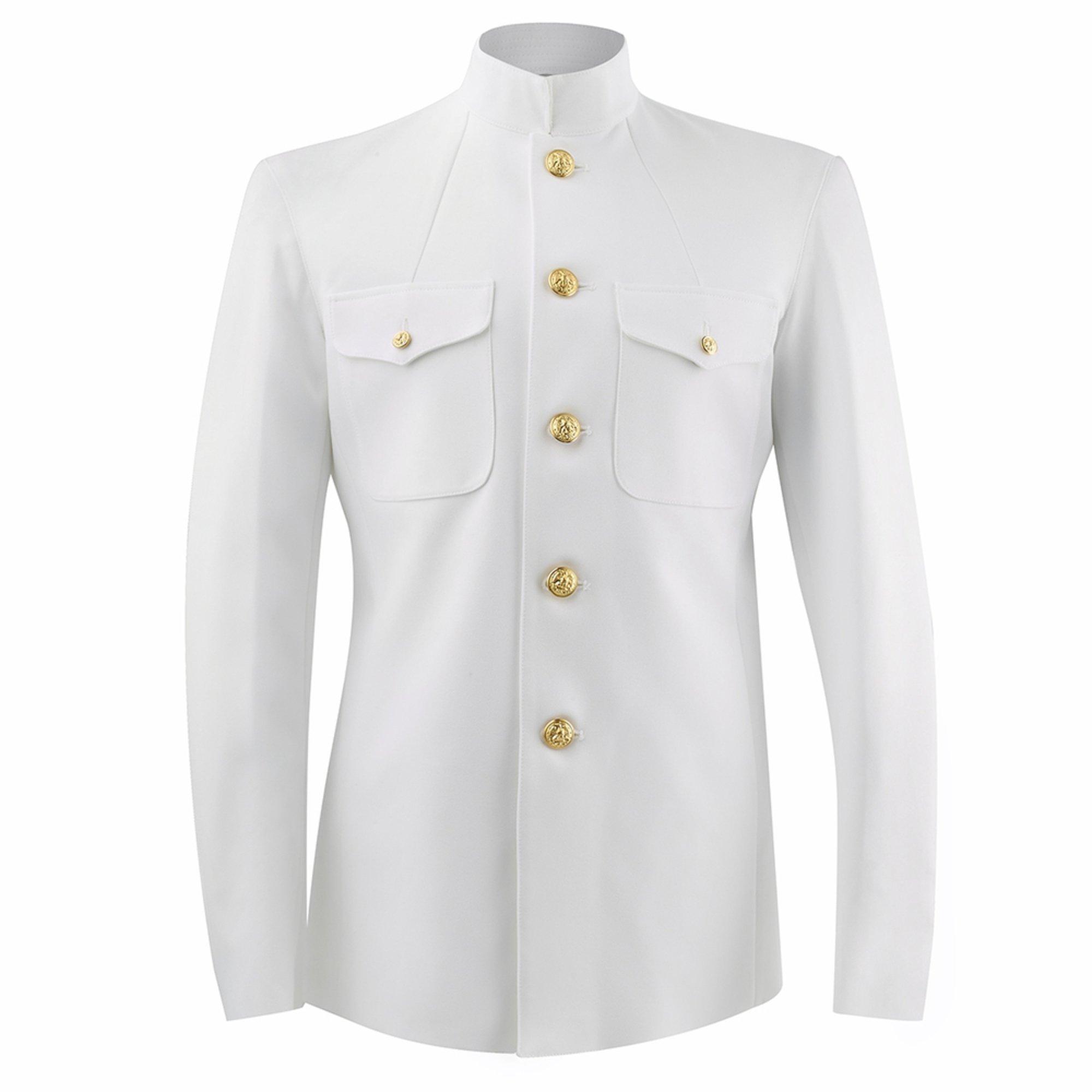 Men\u0027s Service Dress White Choker Athletic Fit