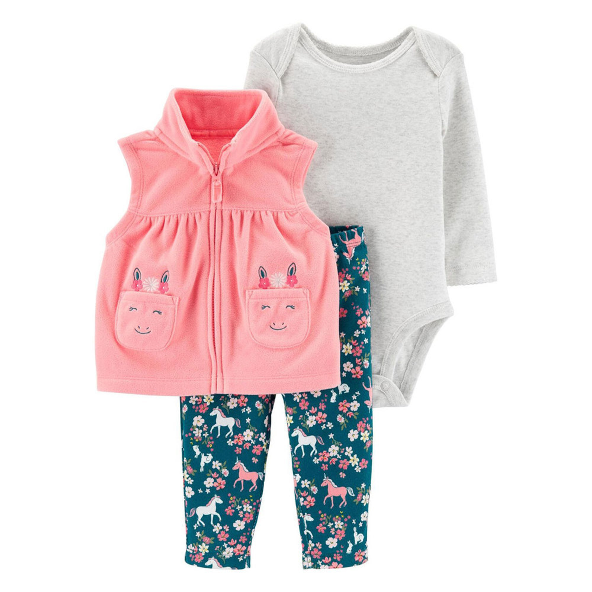 Carter S Baby Girls 3 Piece Unicorn Fleece Vest Set