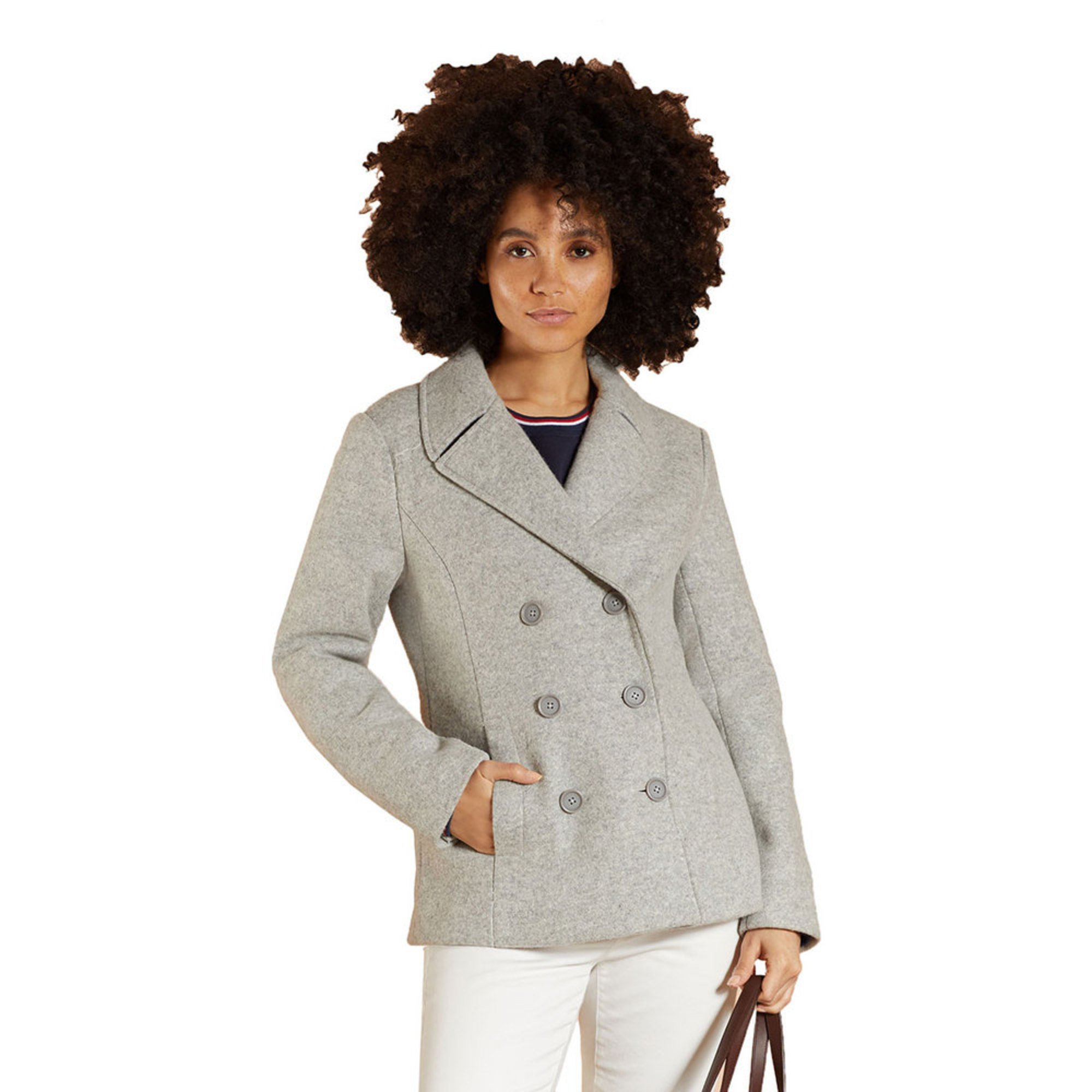 size 7 factory price high quality materials Brooks Brothers Women's Red Fleece Wool Peacoat   Casual ...