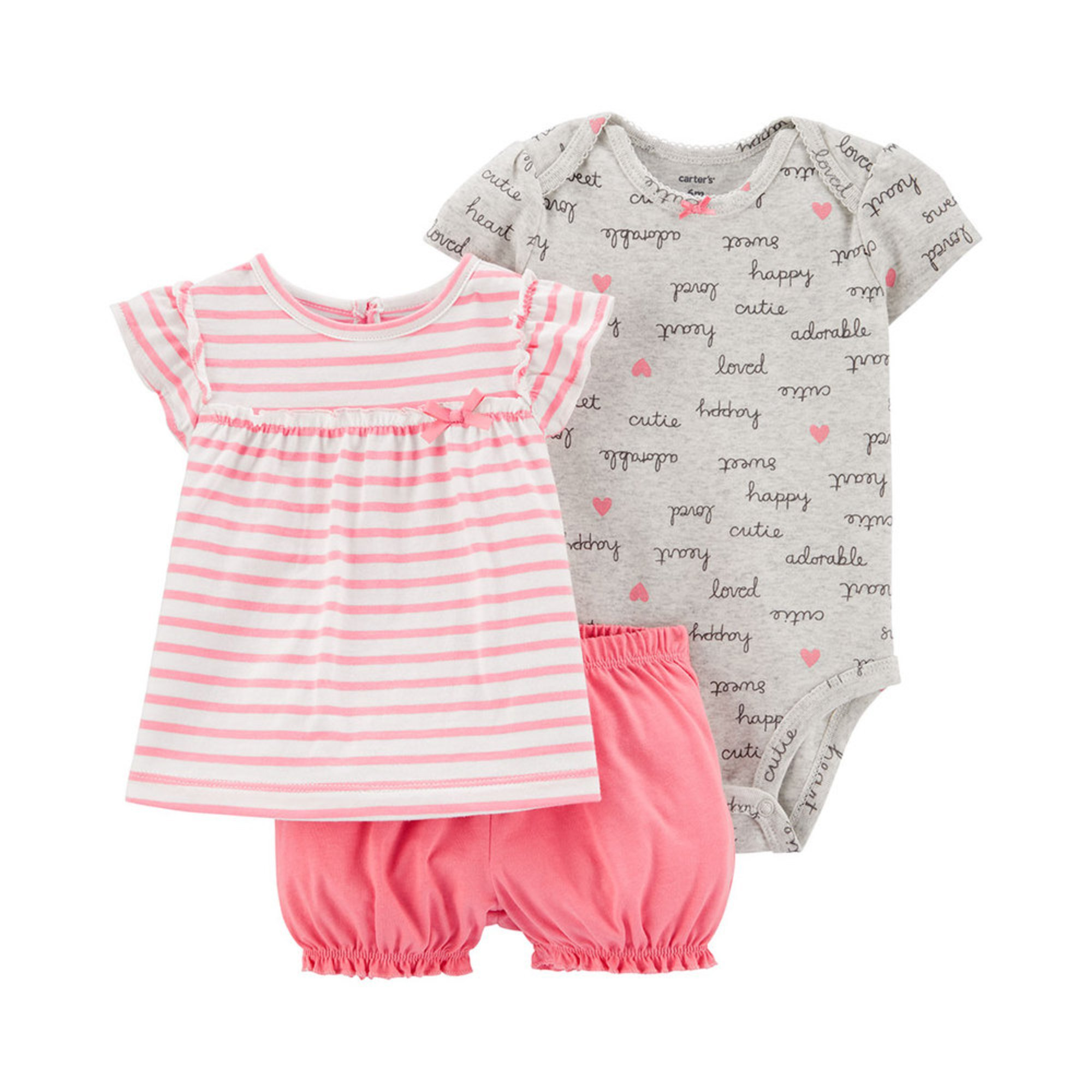 Carters Little Girls French Terry Short Pink 3-Toddler