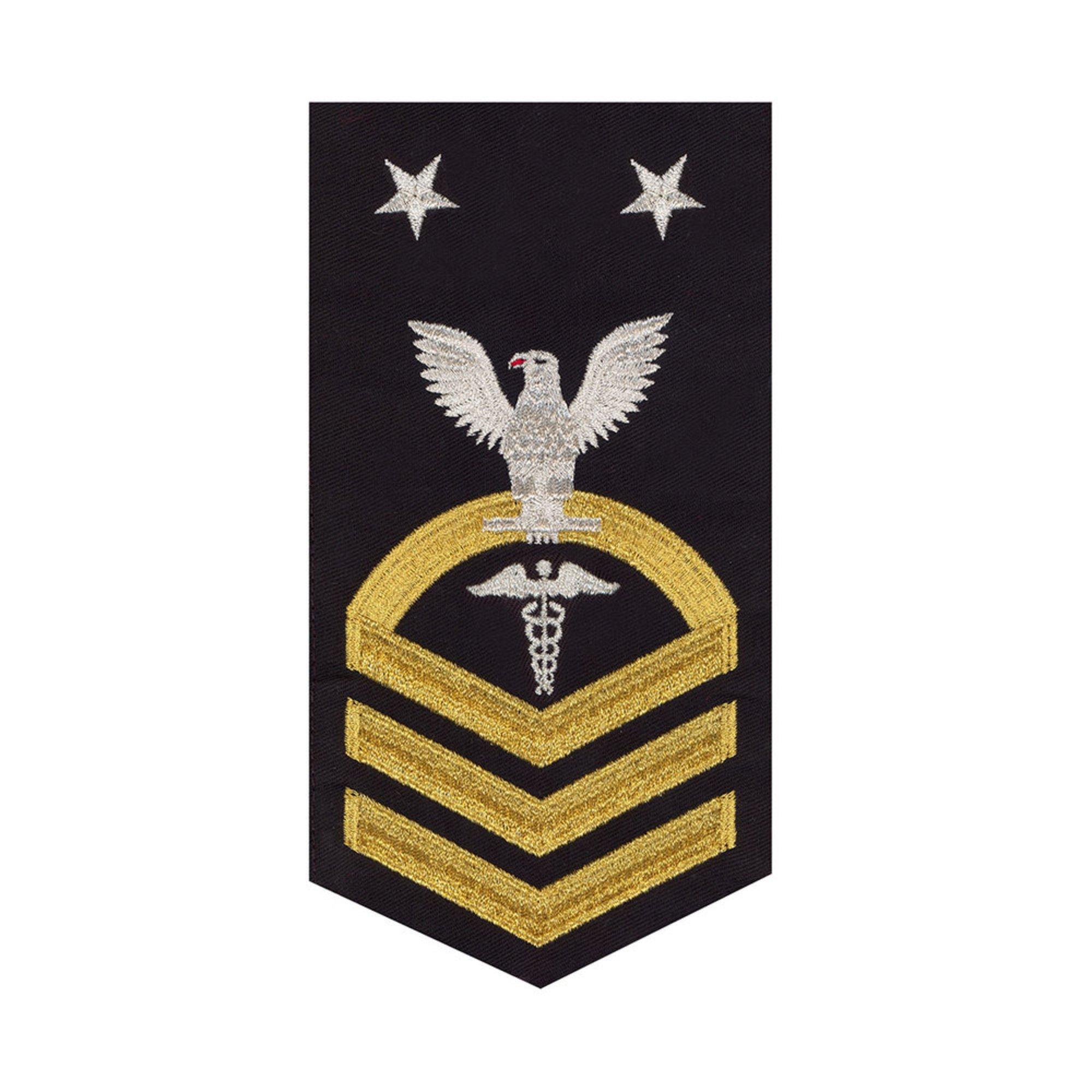 Men's E9 (hmcm) Rating Badge In Standard Gold On Blue Poly