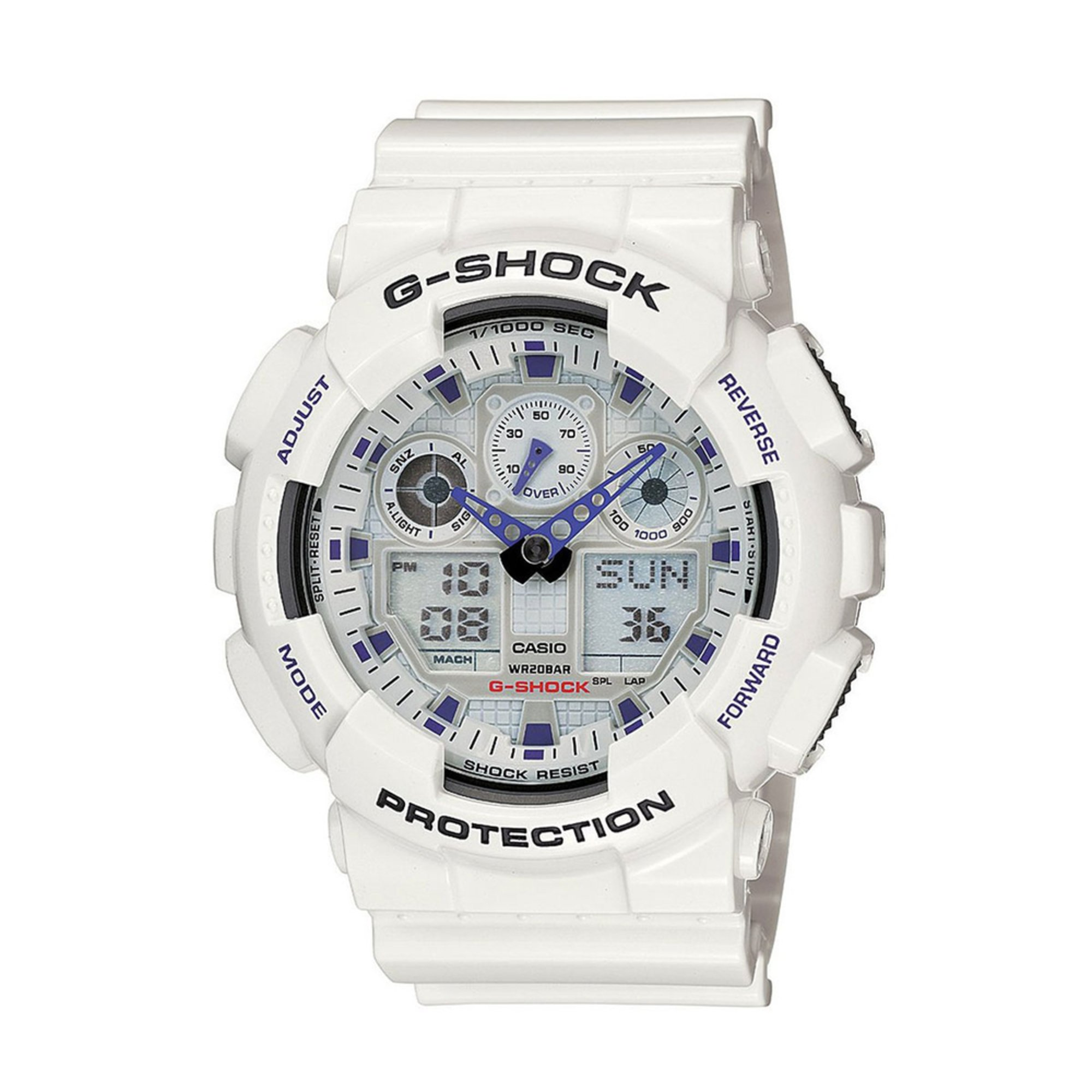 Casio Men S G Shock White And Blue Xl Analog Digital Watch