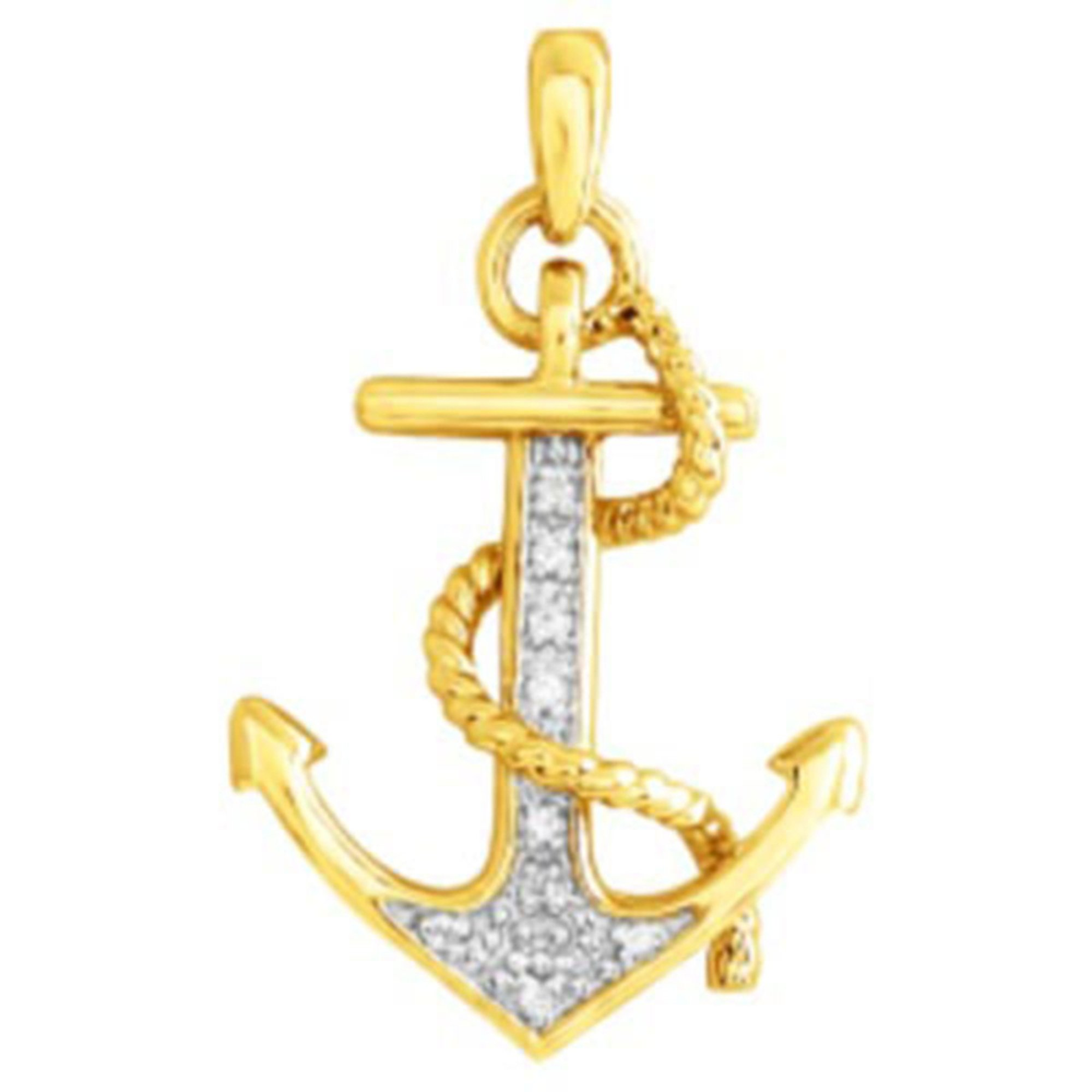 10k Yellow Gold Diamond Anchor Pendant Diamond Necklaces Jewelry