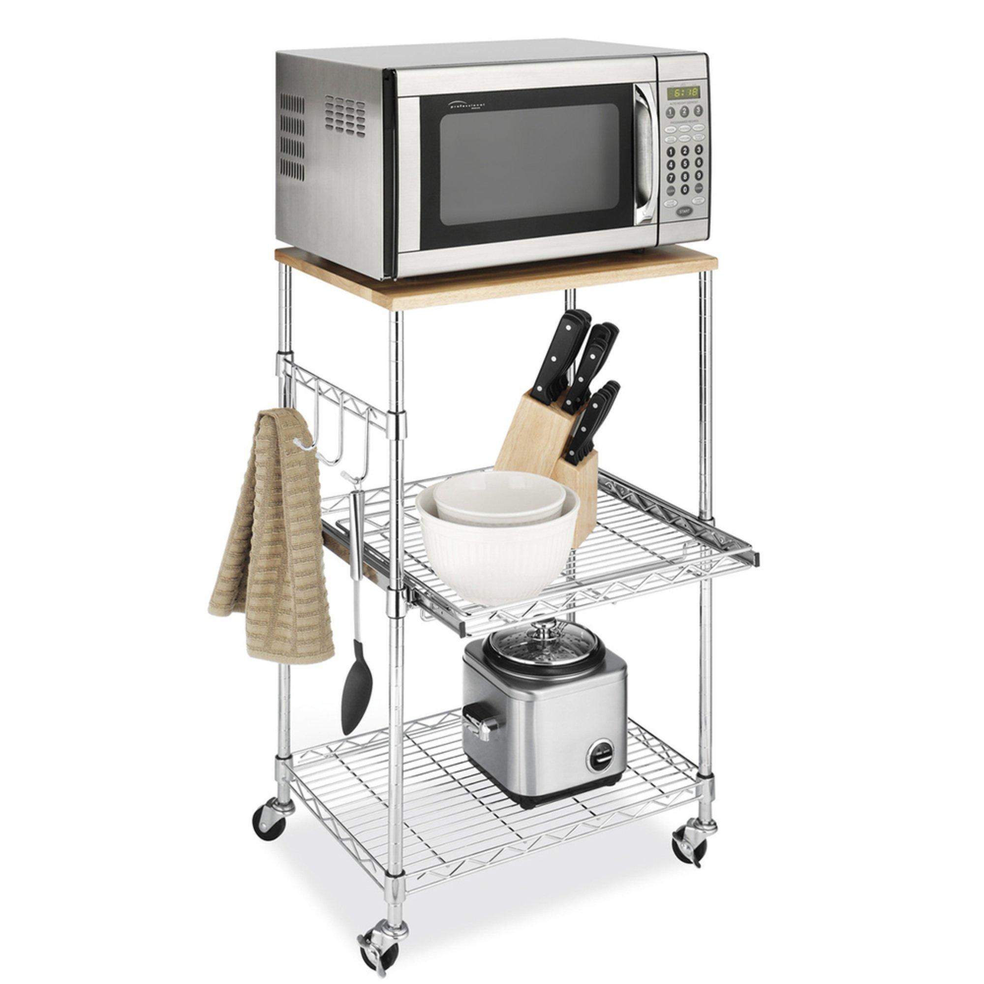 Countertop Microwave Stand : Whitmor Supreme Microwave Cart (6056-3536) Countertop Microwaves ...
