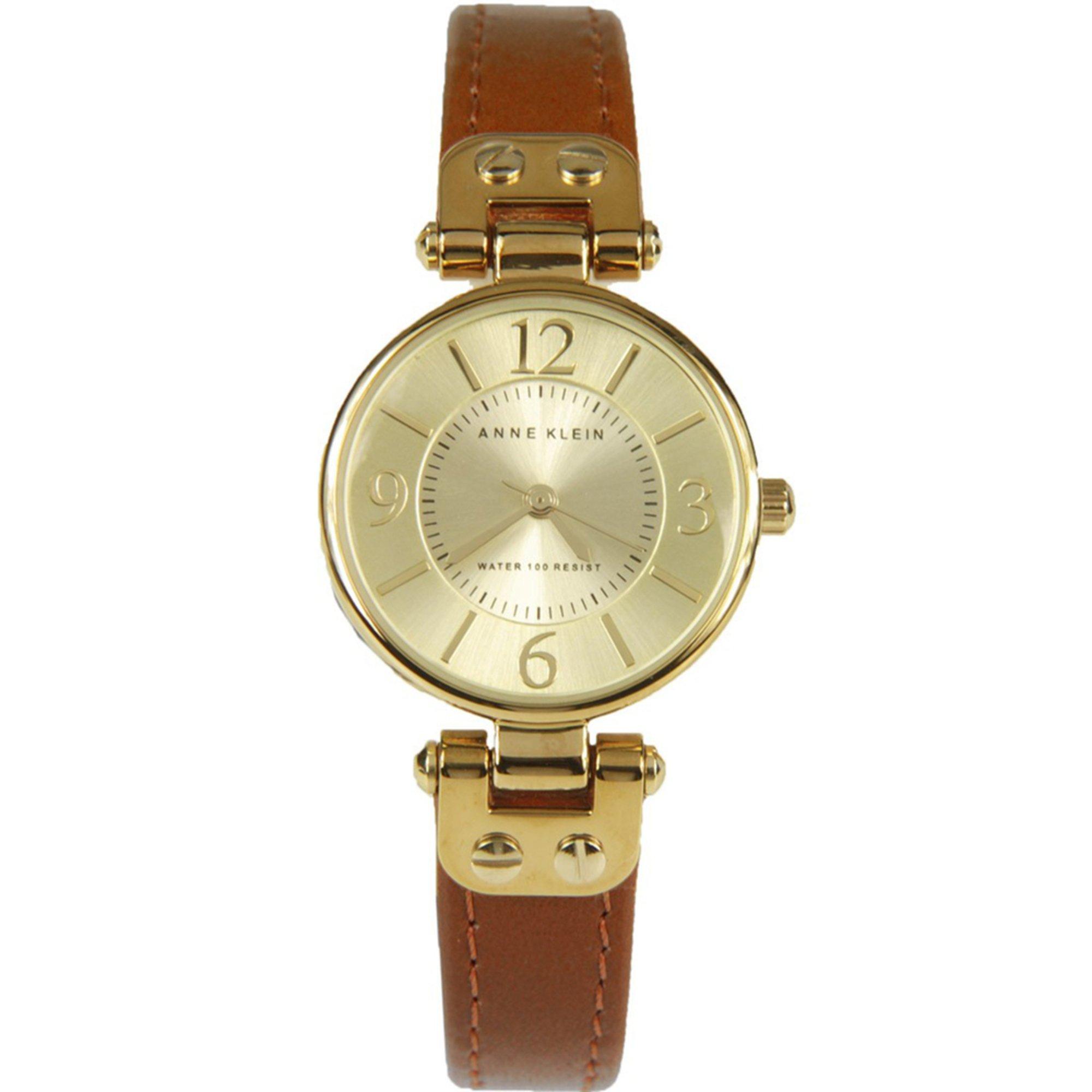 Anne klein women 39 s brown leather strap watch 26mm women 39 s watches accessories shop your for Anne klein leather strap