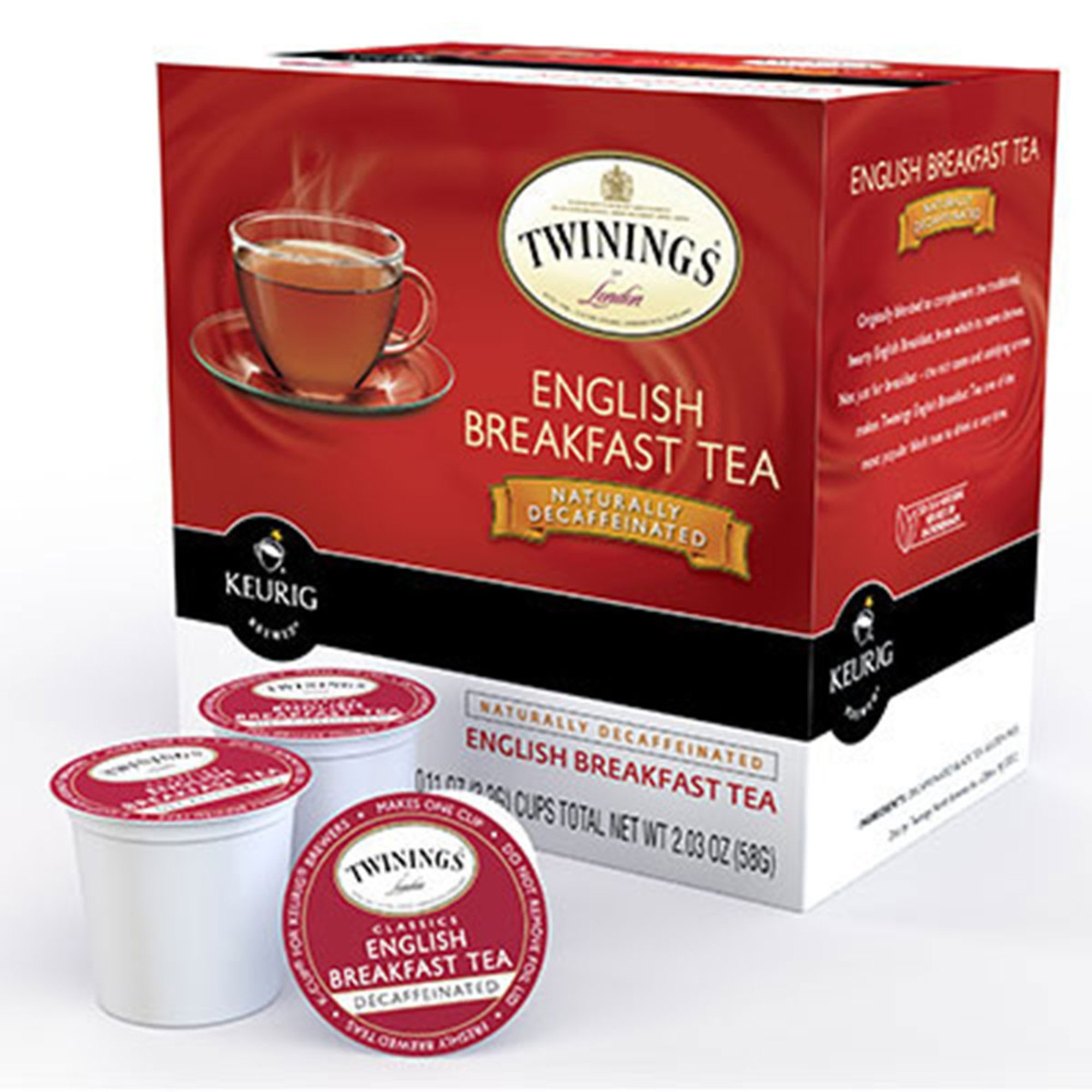 Twinings English Breakfast Tea, Decaf K-cup Pods, 18-count ...