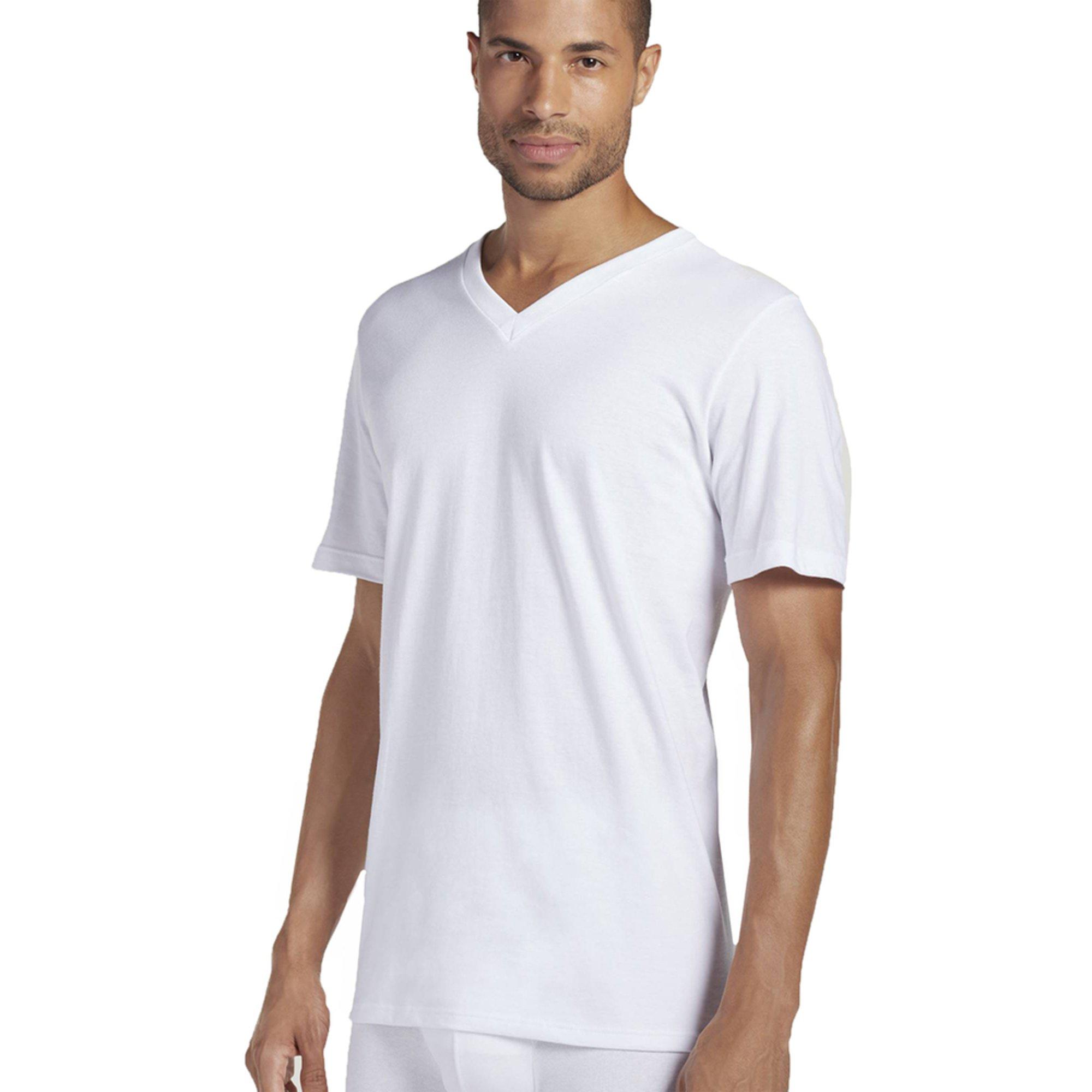 Jockey men 39 s v neck t shirt 3 pack white men 39 s for Jockey v neck shirt