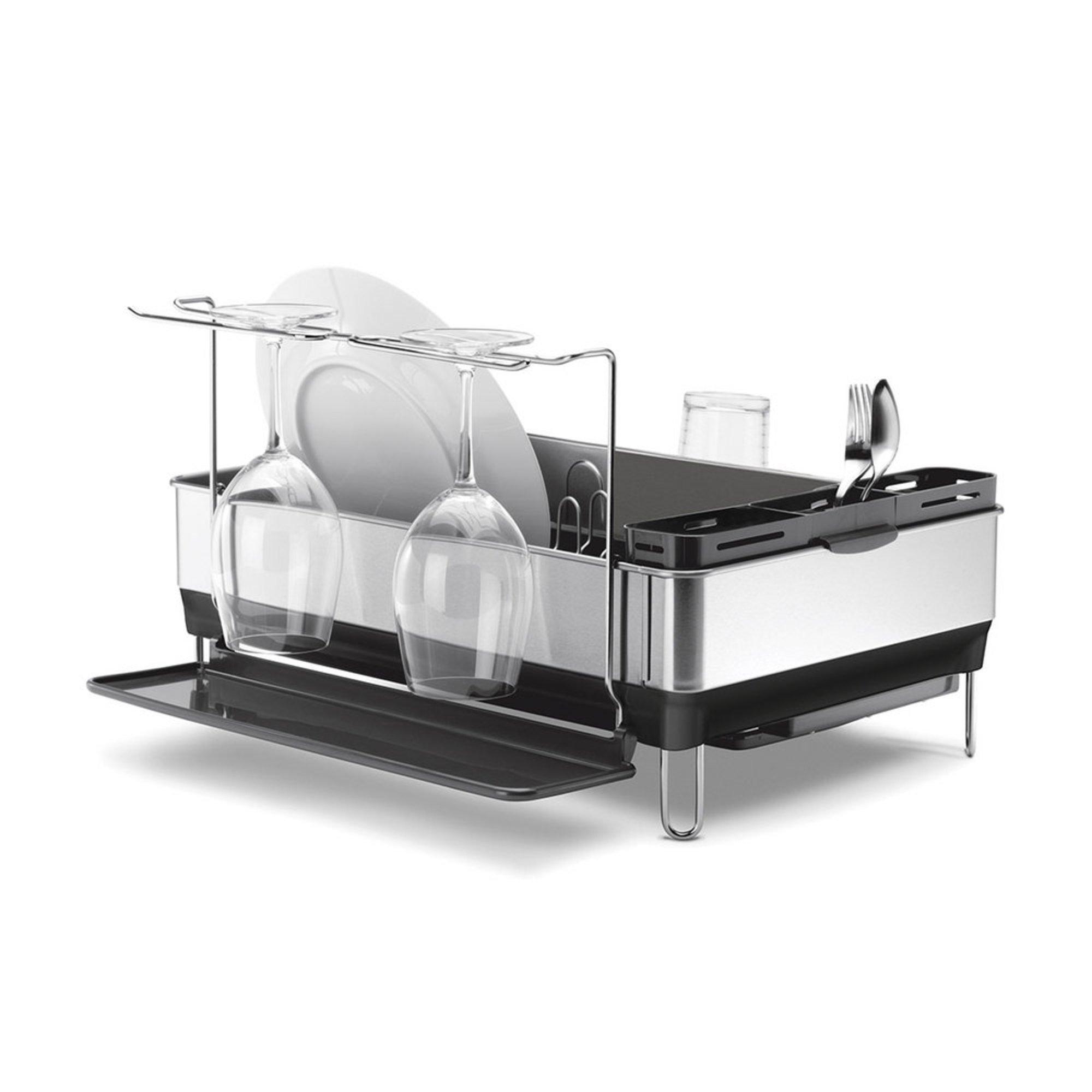 simplehuman steel frame dish rack with wine glass slot