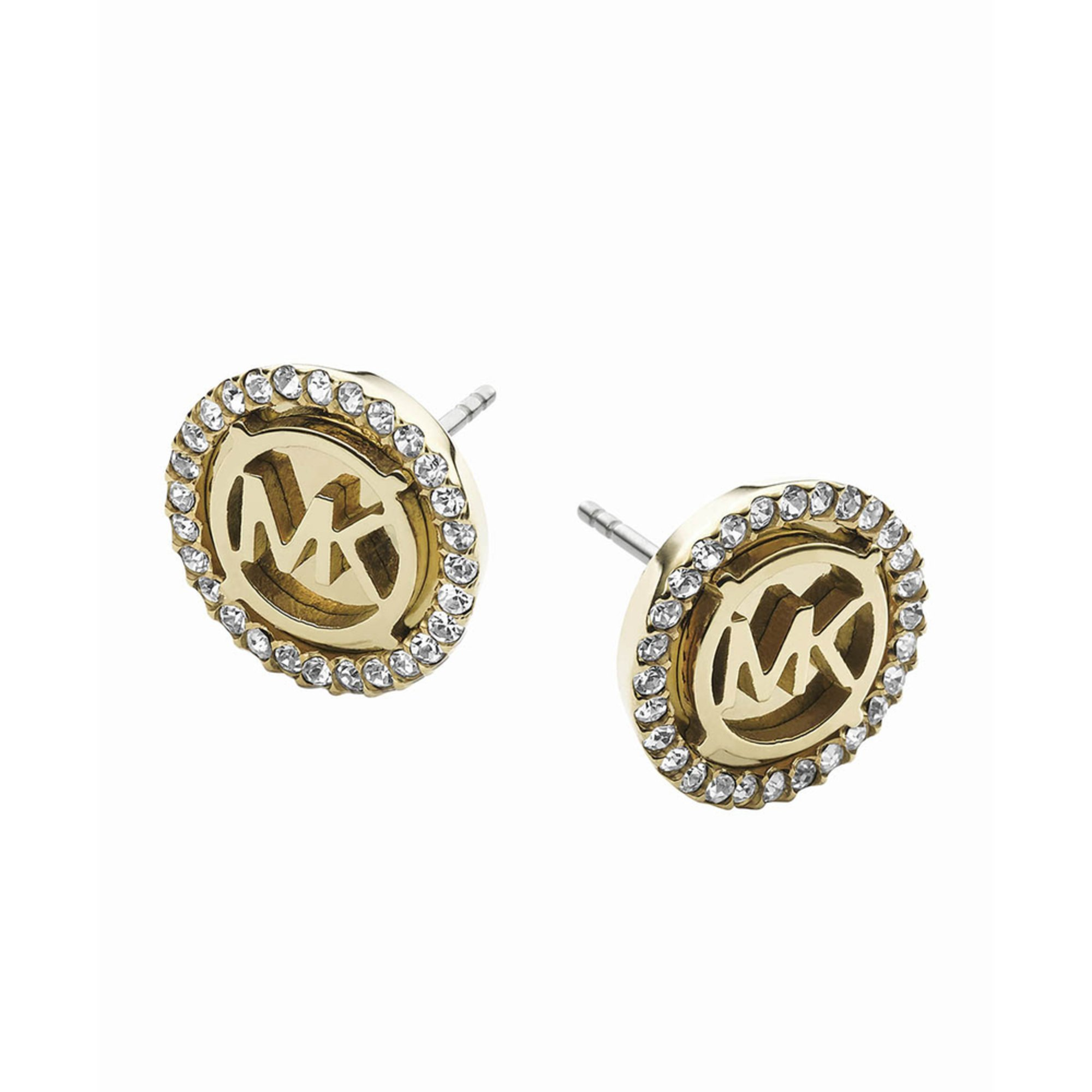michael kors gold tone mk logo stud earrings fashion. Black Bedroom Furniture Sets. Home Design Ideas