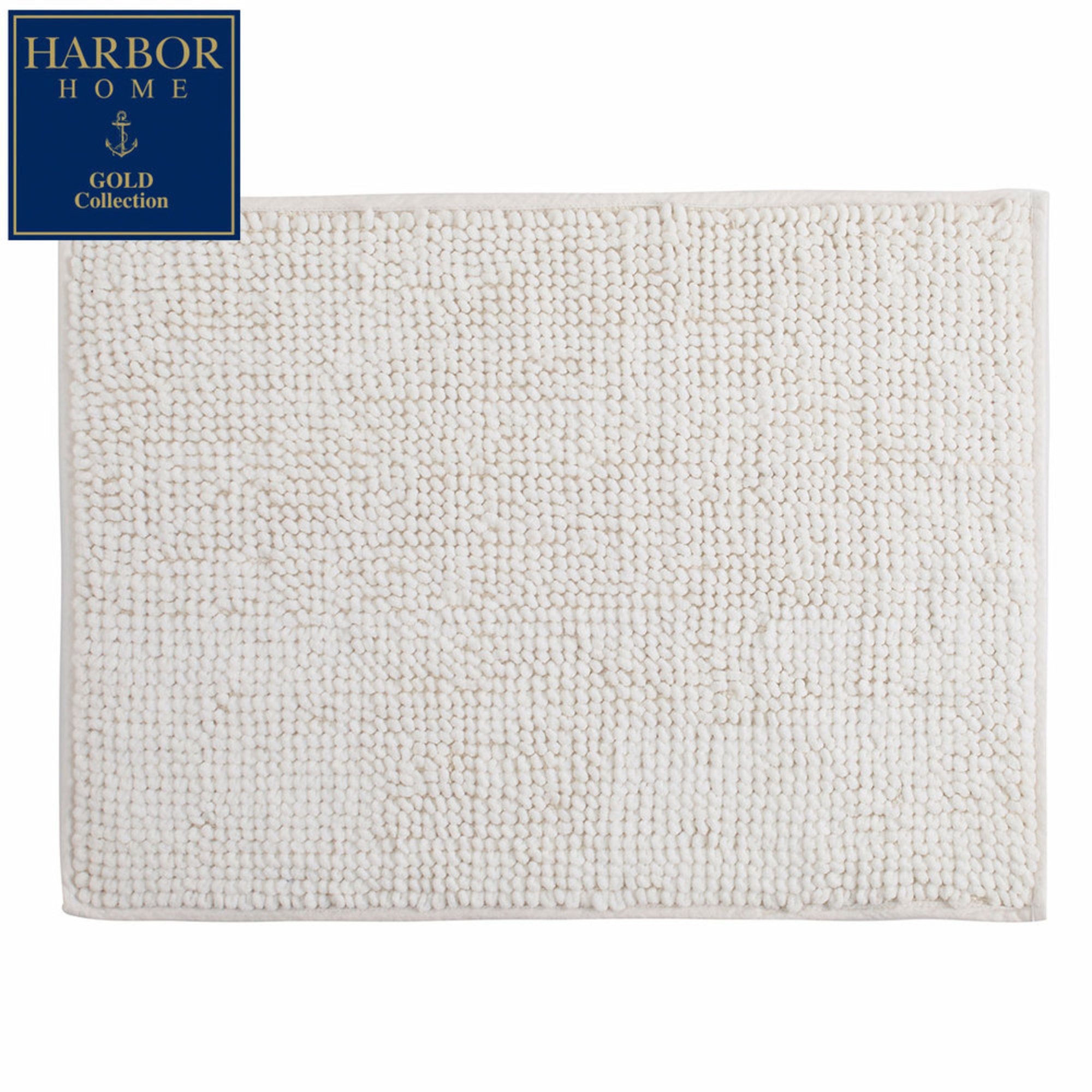 harbor home gold collection 17x24 bath rug, white | bath rugs
