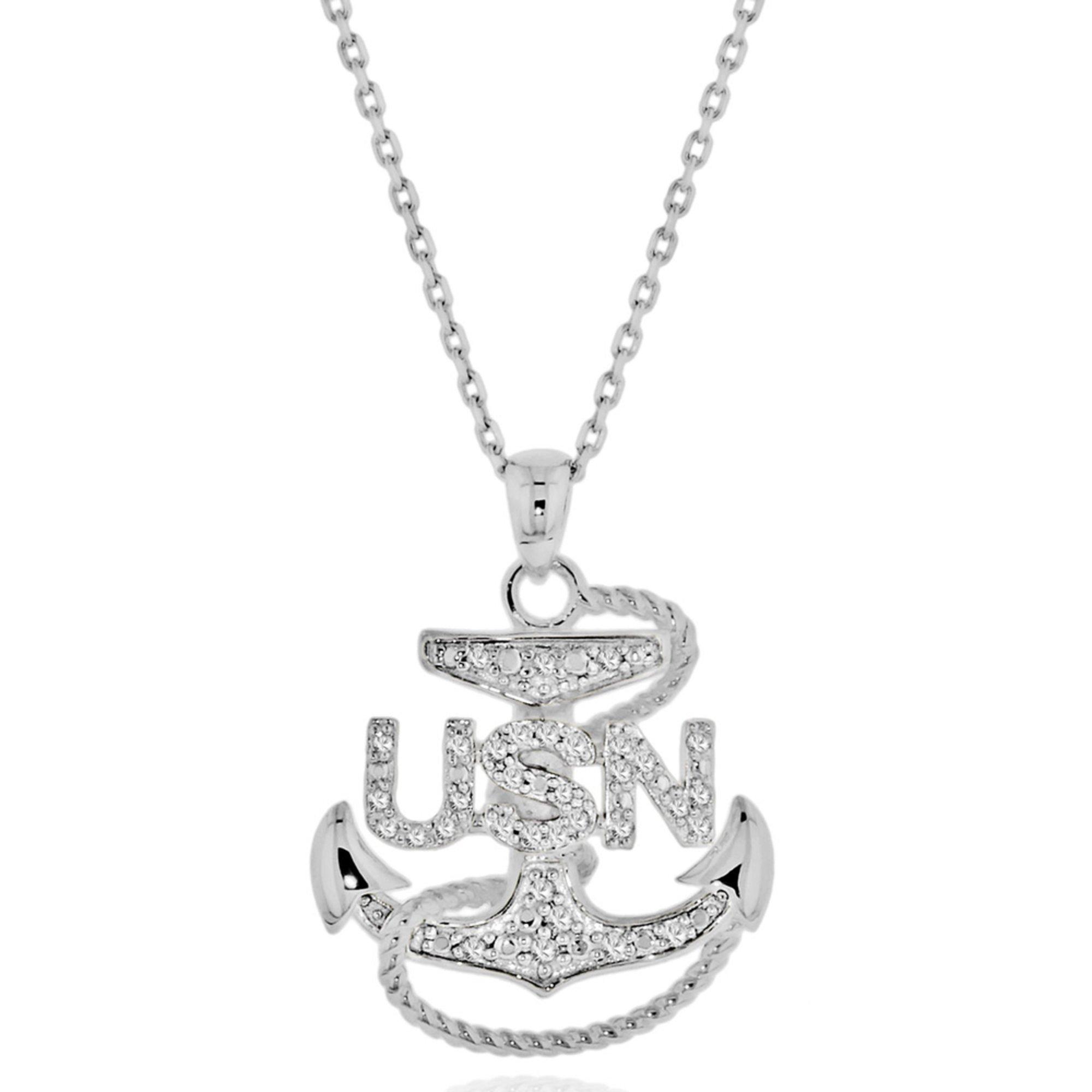 Sterling silver 18 15 cttw diamond anchor usn pendant diamond sterling silver 18 15 cttw diamond anchor usn pendant aloadofball Choice Image